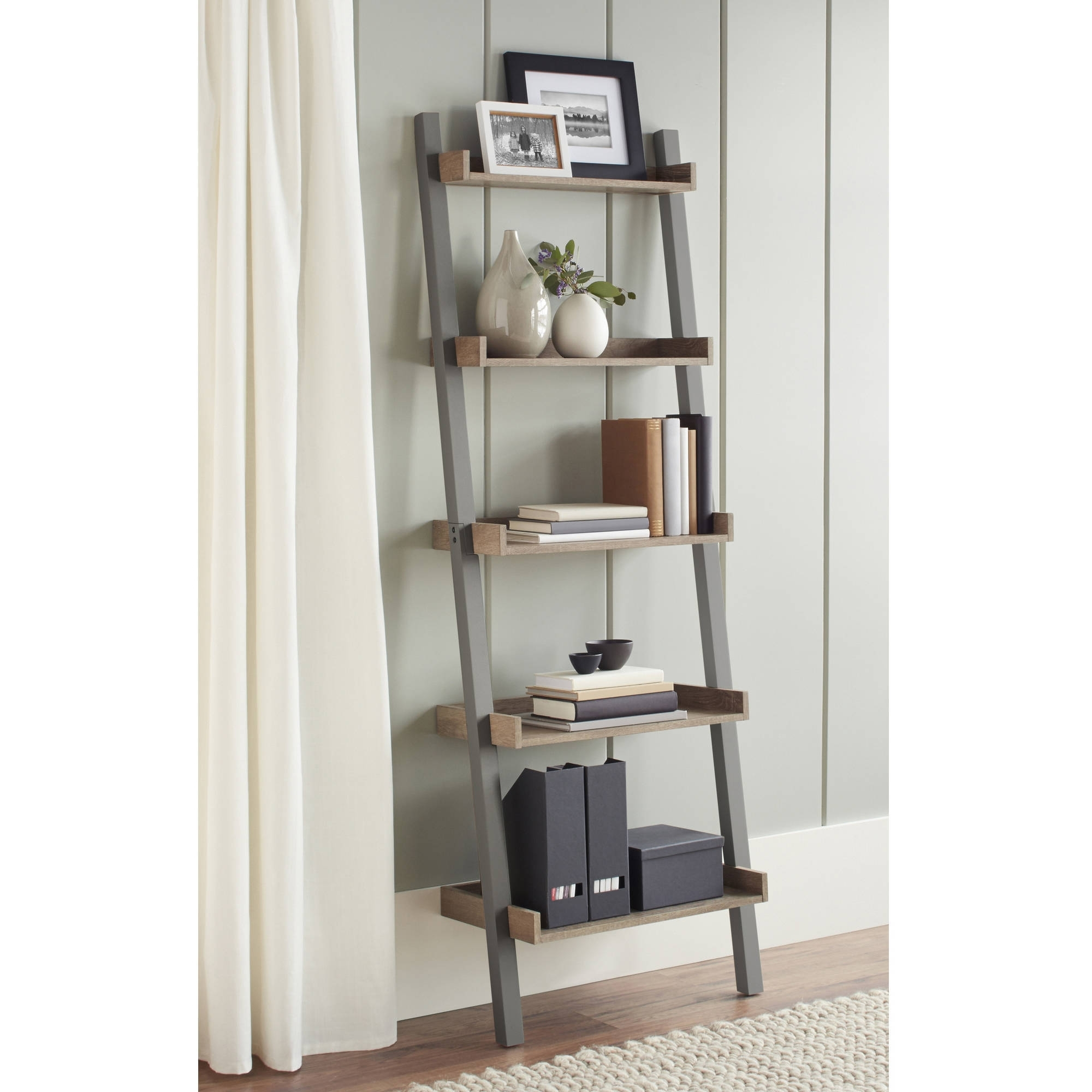 Well Known Leaning Shelf Bookcases With Regard To Ladder Shelf Bookcases Walmart Com Leaning ~ Idolza (View 15 of 15)