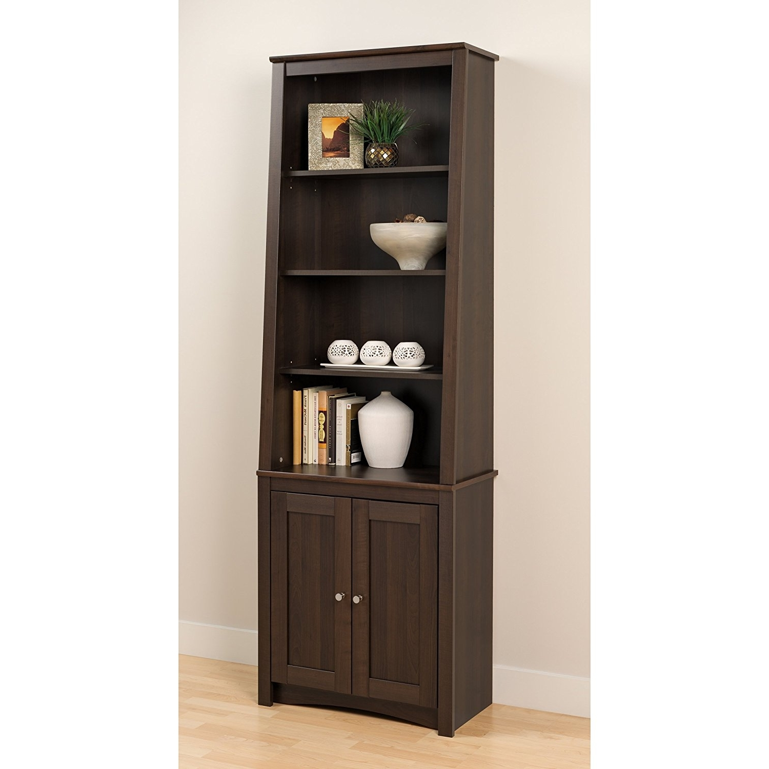 Well Known Mainstays 5 Shelf Bookcases In Amazon: Espresso Tall Slant Back Bookcase With 2 Shaker Doors (View 15 of 15)