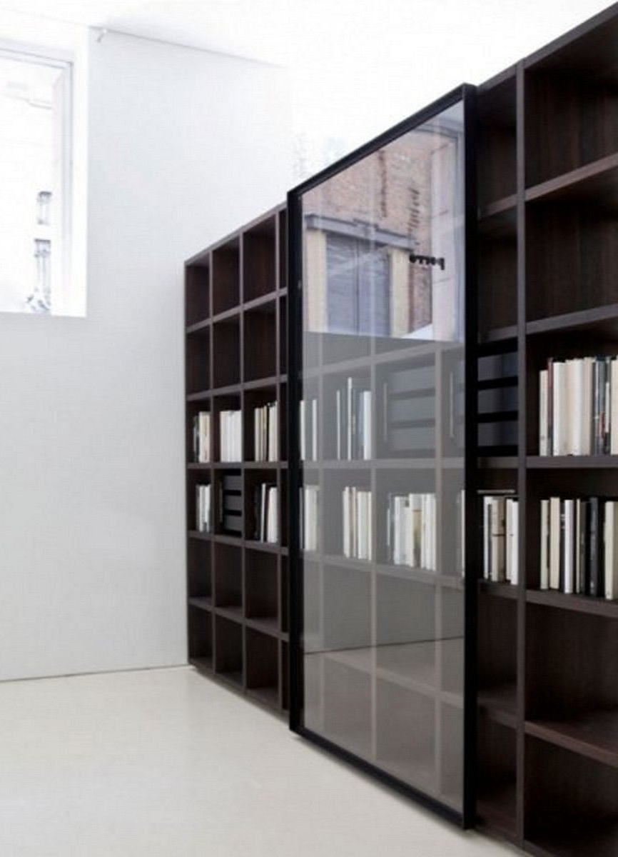 Well Known Modern Bookcase With Glass Door: Mesmerizing Bookcase Design With Intended For Black Bookcases With Glass Doors (View 12 of 15)