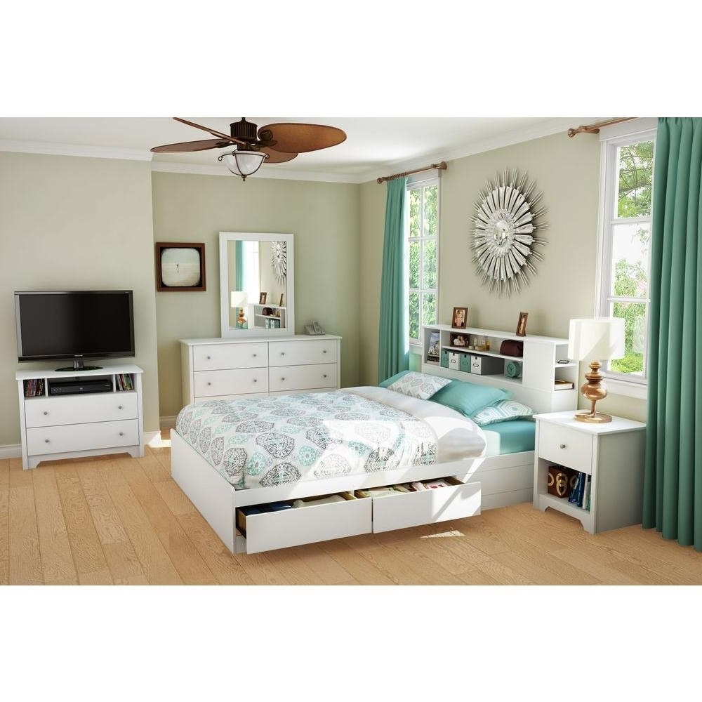 Well Known Queen Bookcases Headboard For South Shore Vito Full/queen Size Bookcase Headboard In Pure White (View 11 of 15)