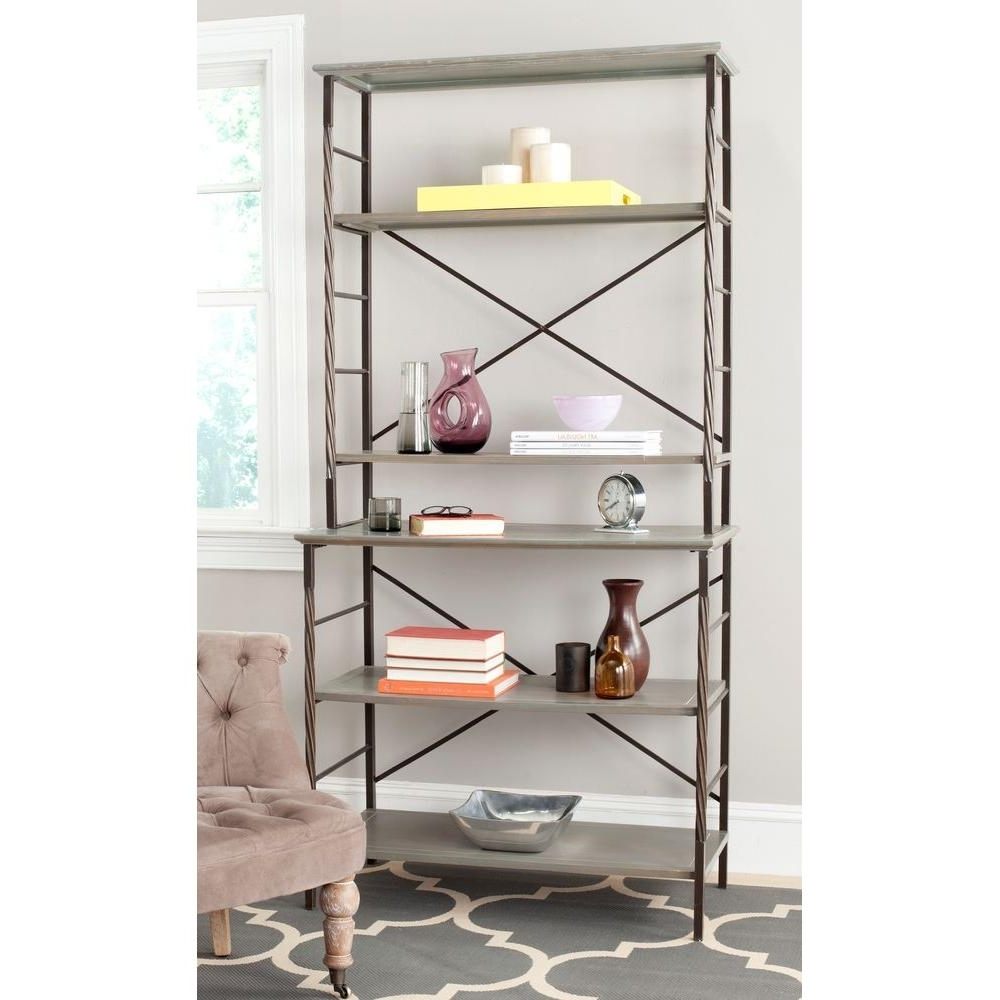 Well Known Safavieh Brooke Ash Gray Open Bookcase Amh6508B – The Home Depot Regarding Etagere Bookcases (View 13 of 15)