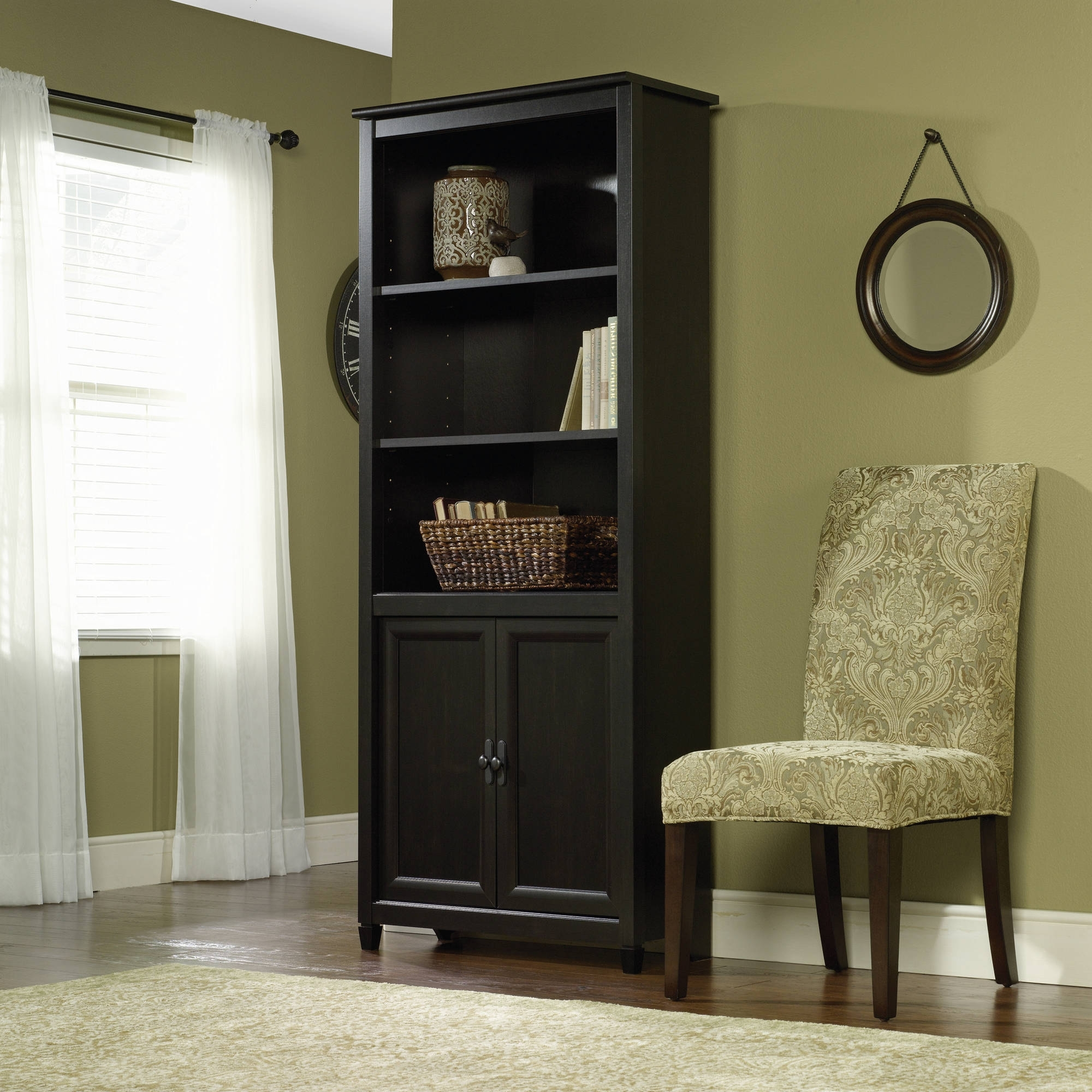 Well Known Sauder Edge Water 3 Shelf Library Bookcase With Doors, Estate Throughout Black Bookcases With Doors (Gallery 8 of 15)