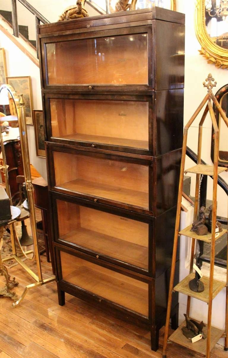 Well Known Shaw Walker Antique Dark Brown Barrister Bookcase At 1stdibs With Antique Bookcases (View 8 of 15)