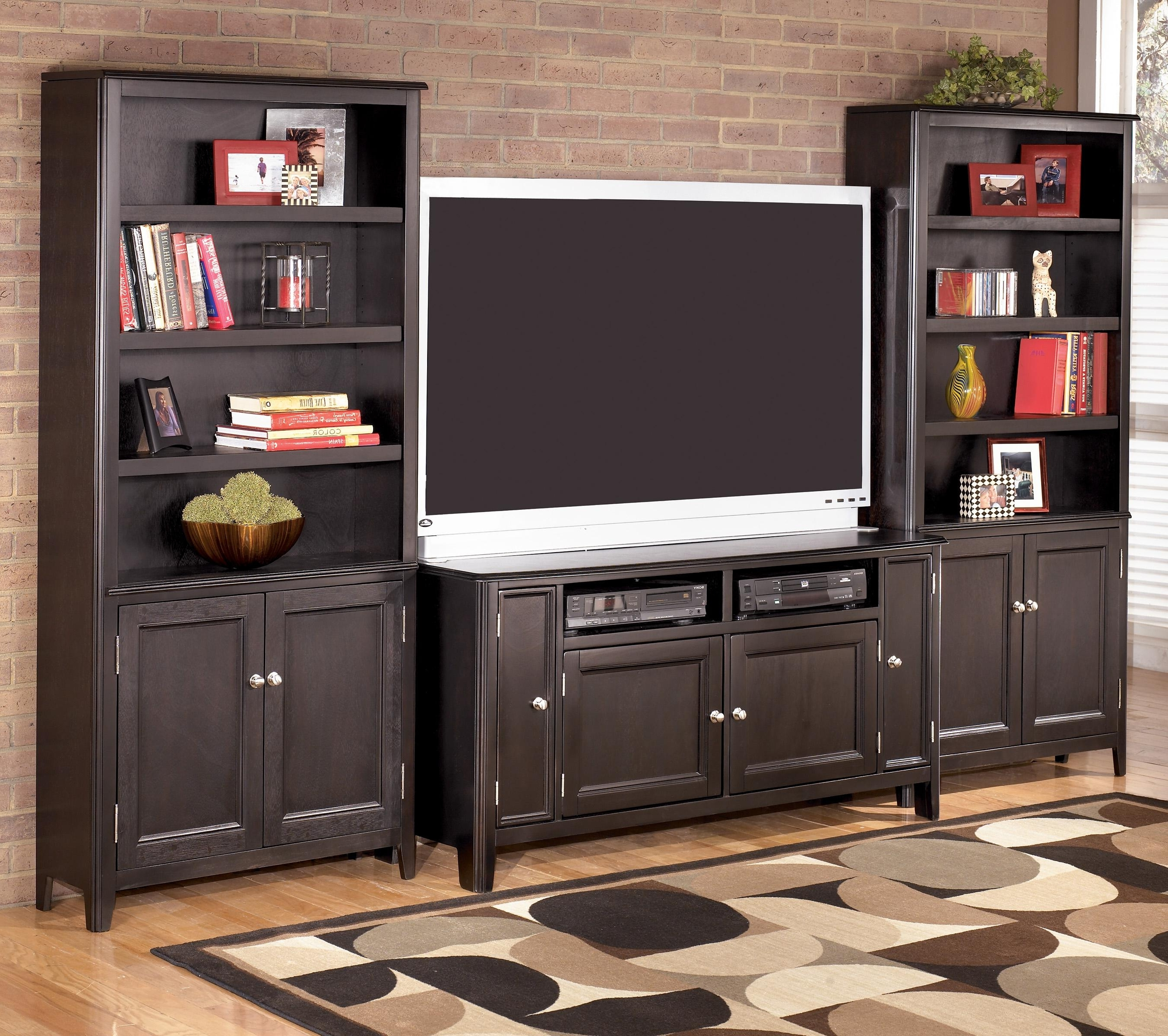 Well Known Signature Designashley Carlyle 60 Inch Tv Stand & 2 Large Door In Tv Stand Bookcases (View 7 of 15)