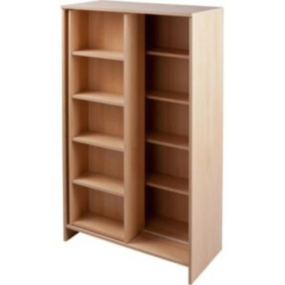 Well Known Slide – Large Cd Media Storage Bookcase / Display Shelves – Beech Pertaining To Beech Bookcases (View 7 of 15)