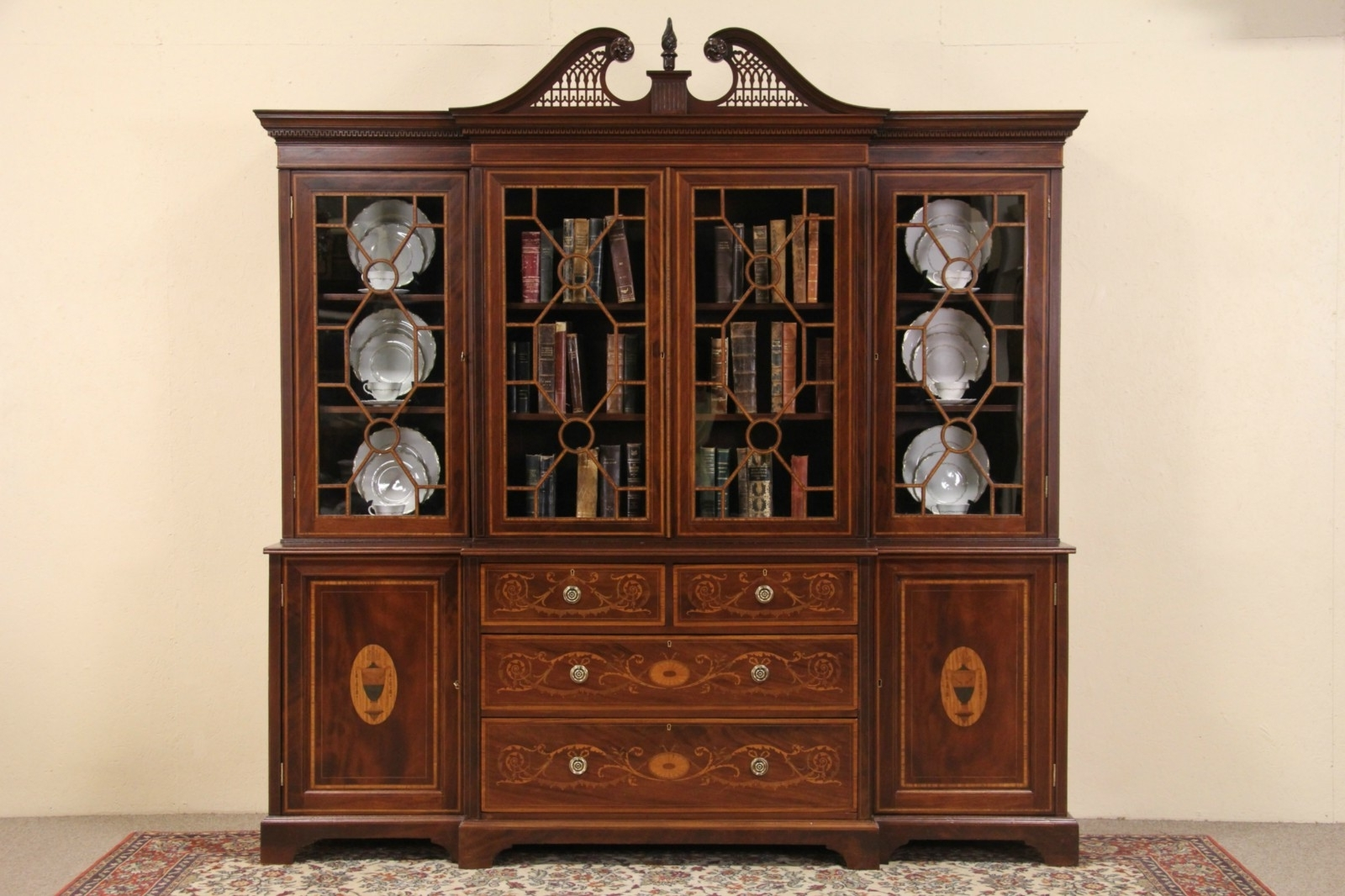 Well Known Sold – English Georgian Design 1890's Antique Breakfront Bookcase Pertaining To Breakfront Bookcases (View 15 of 15)