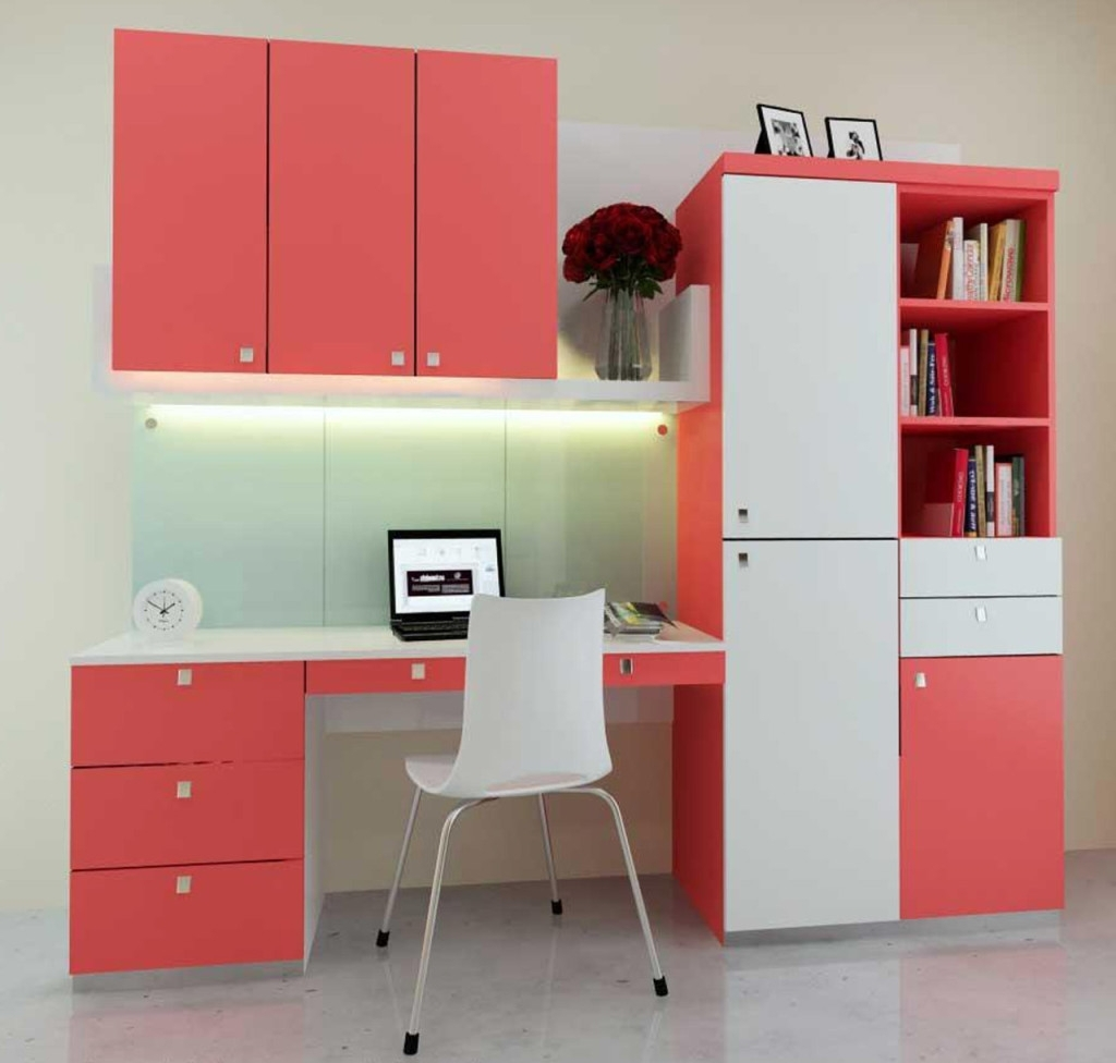 Well Known Study Cupboard Designs In Pink Study Room Design With Small Pink White Cupboard With White (View 15 of 15)