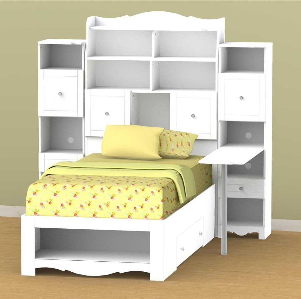 Well Known Twin Headboard Bookcases Regarding Twin Bed With Storage And Bookcase Headboard Shelves Bag (View 5 of 15)