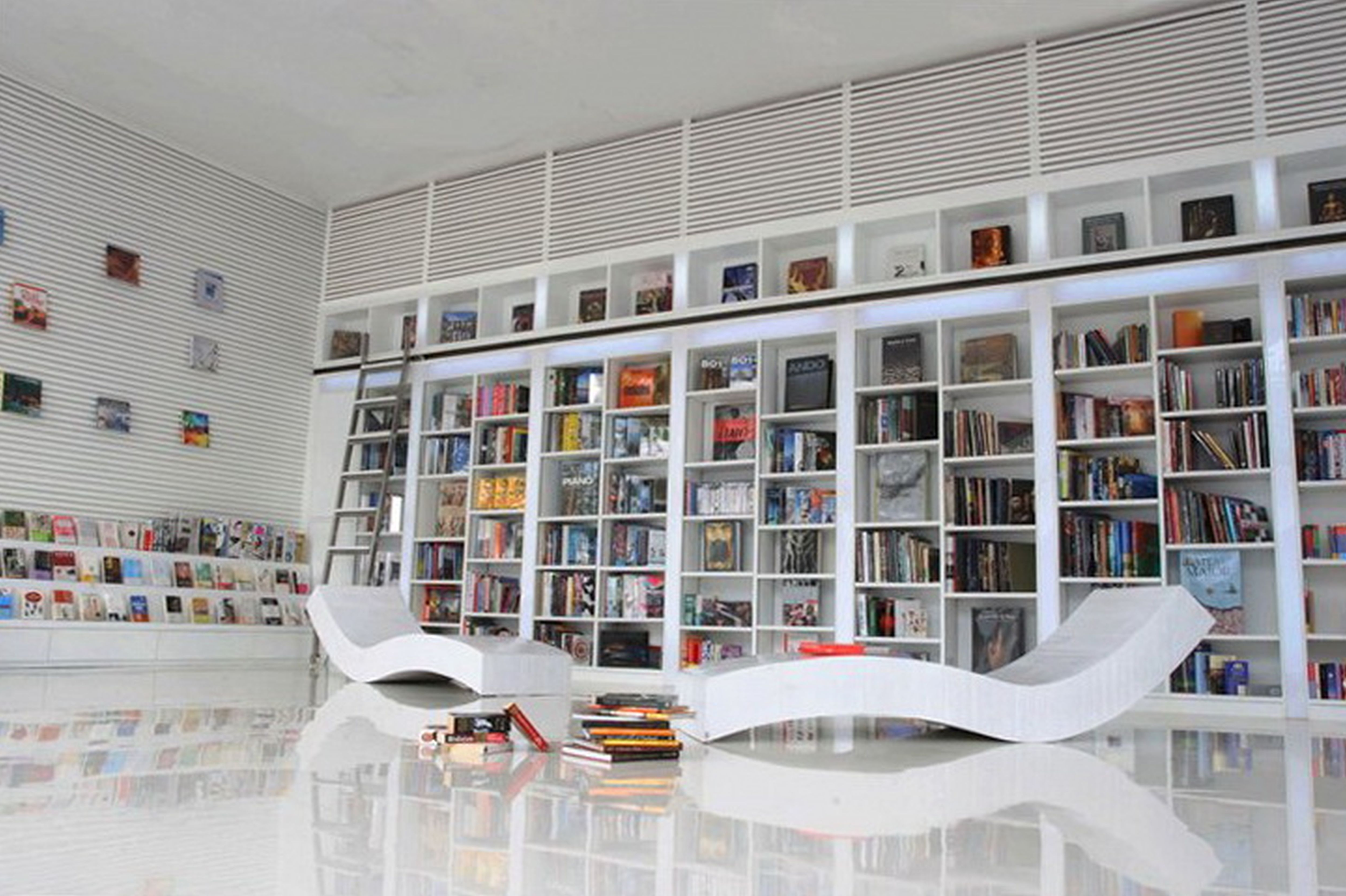 Well Known Wall Bookcases Regarding Furniture Wall Mount Bookshelves With Wood Ladder And Built In Tv (View 11 of 15)