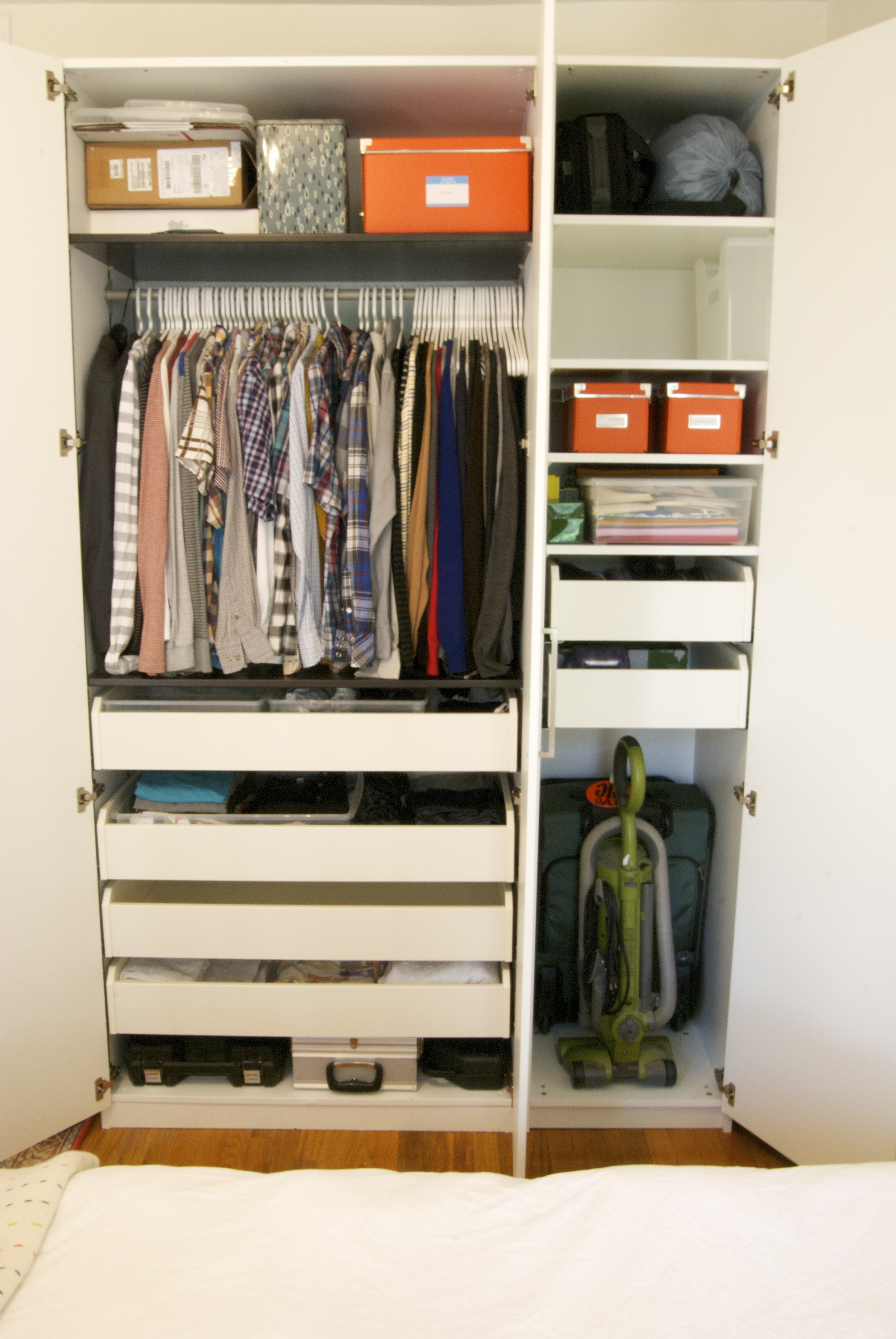 Well Known Wardrobes With Shelves And Drawers In Minimalist White Painted Wooden Wardrobe Cupboard With Half Wooden (View 14 of 15)