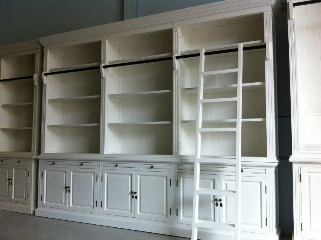 Well Known White Library Bookcases Inside French Library Bookcase With Ladder Bookcases Home Design (View 7 of 15)