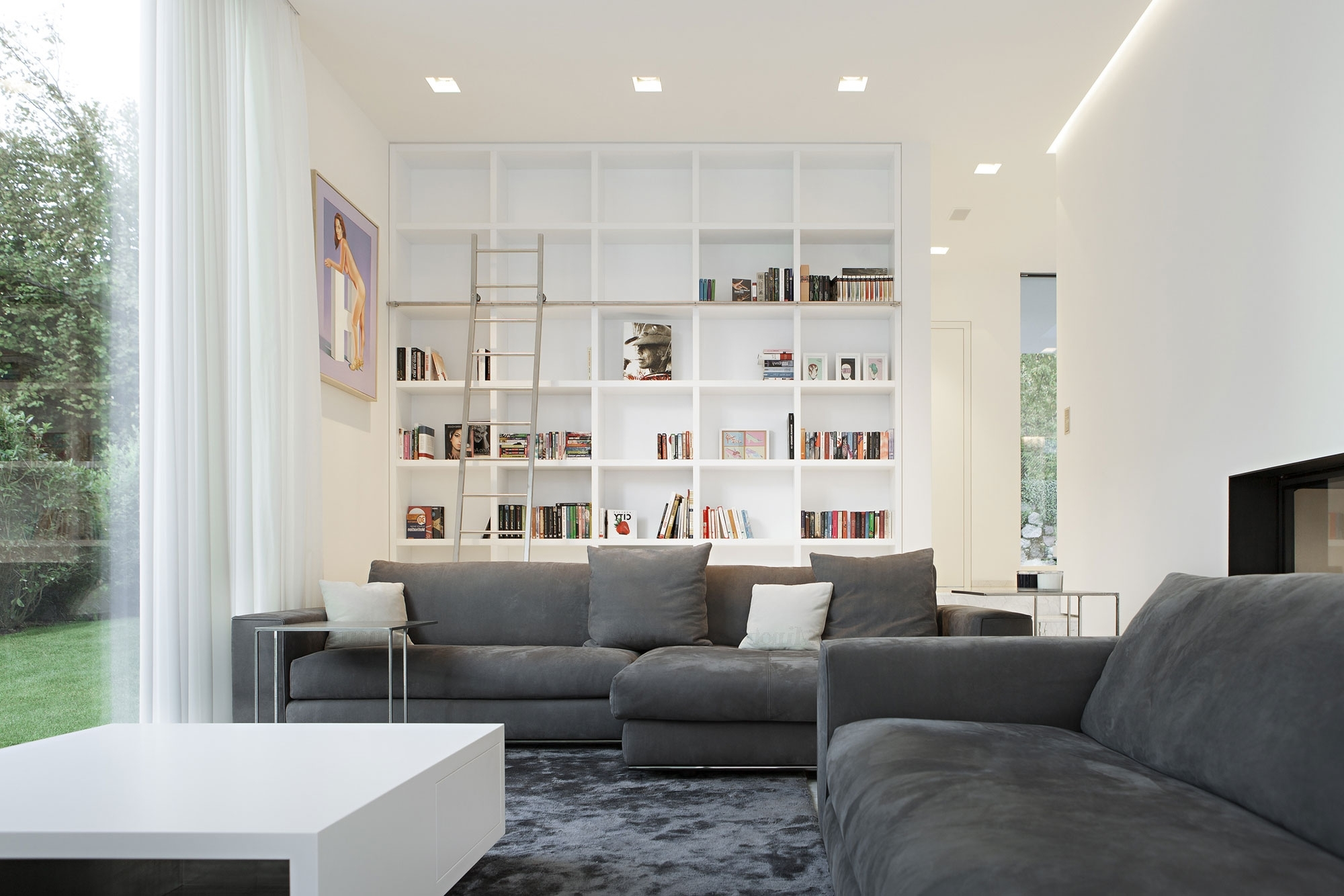 Well Liked Alluring Small Living Room Sleek Sunroom Design With Astonishing Inside Family Room Bookcases (View 12 of 15)