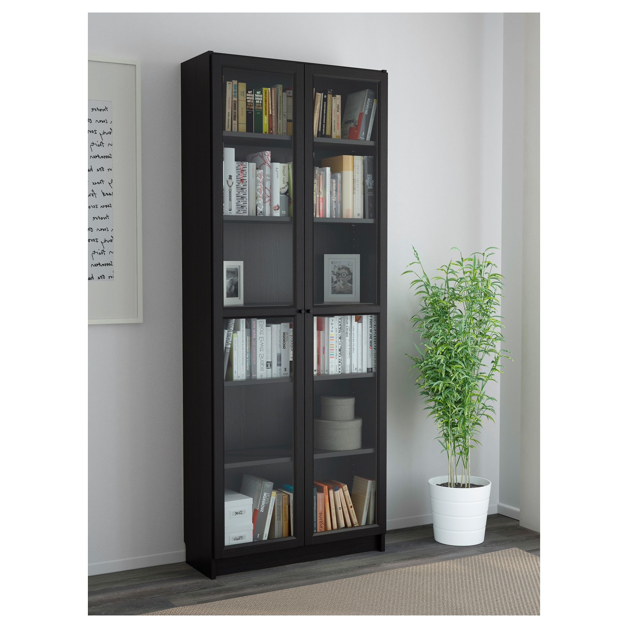 Well Liked Black Bookcases With Doors Regarding Billy / Oxberg Bookcase – White – Ikea (View 6 of 15)