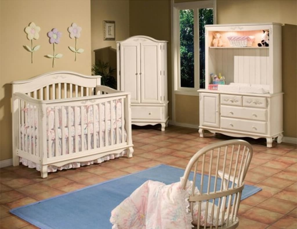 Well Liked Cheap Baby Wardrobes With Regard To Furniture: Designer Crib Linens With Flower Wall Ornaments And (View 14 of 15)