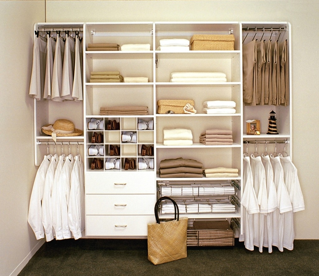 Well Liked Drawers And Shelves For Wardrobes Within Furniture, Neat Simple Wardrobe Open View With Small Walk In (View 15 of 15)