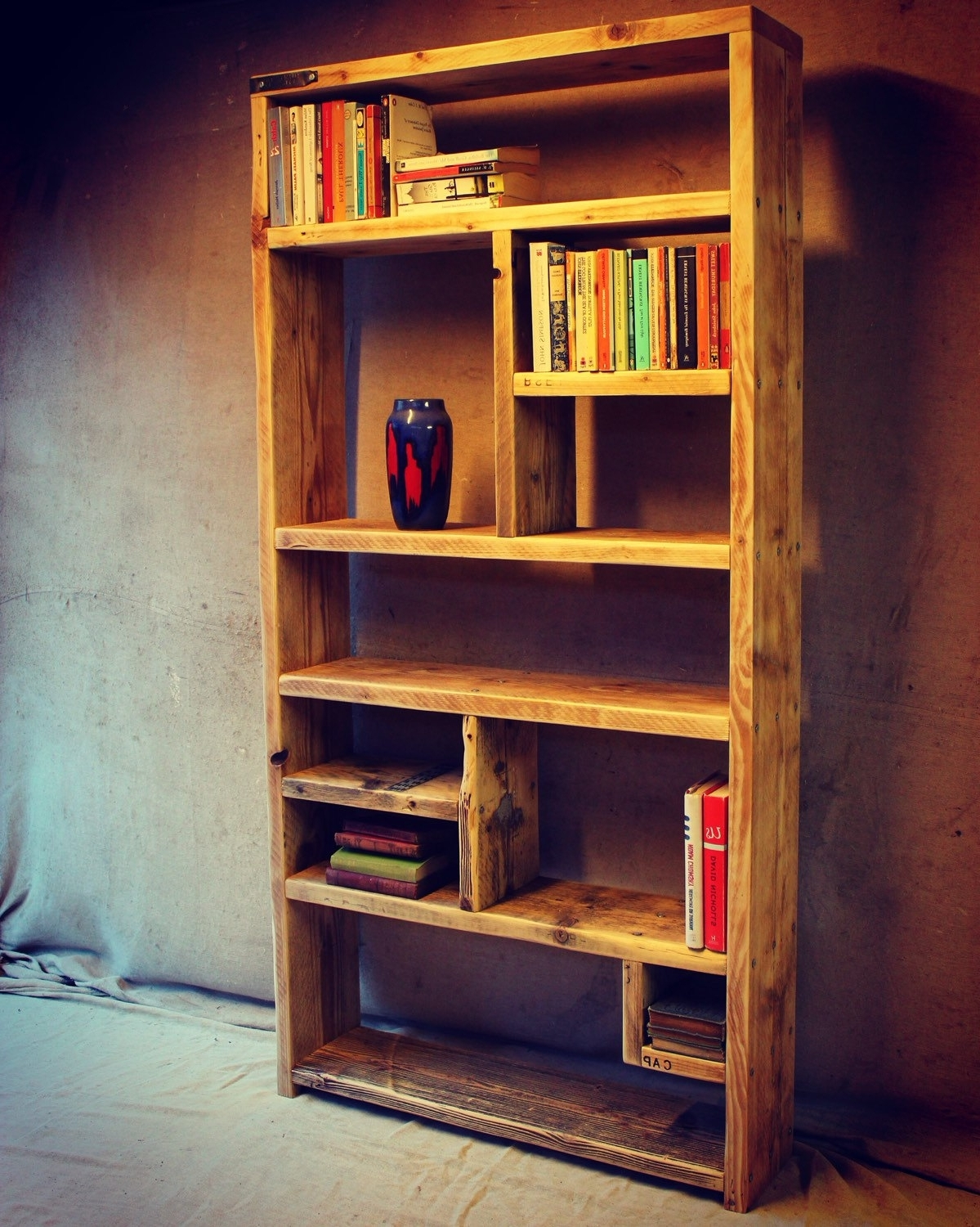 Well Liked Furniture Home: Handmade Triangle Bookcase Made From Recycled Within Handmade Bookshelves (View 9 of 15)