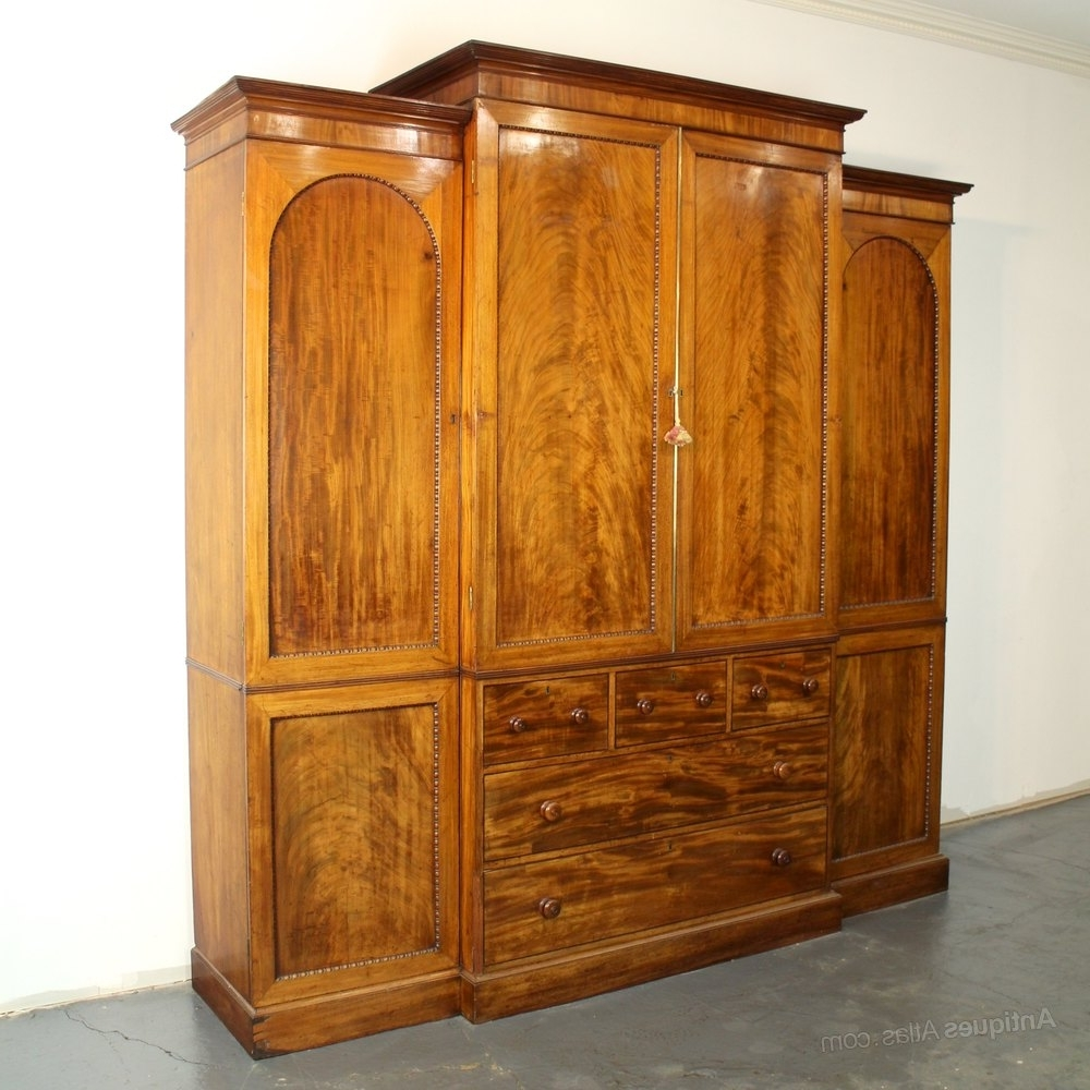 Well Liked Georgian Breakfront Wardrobes Regarding Georgian Mahogany Breakfront Linen Press Wardrobe – Antiques Atlas (View 14 of 15)