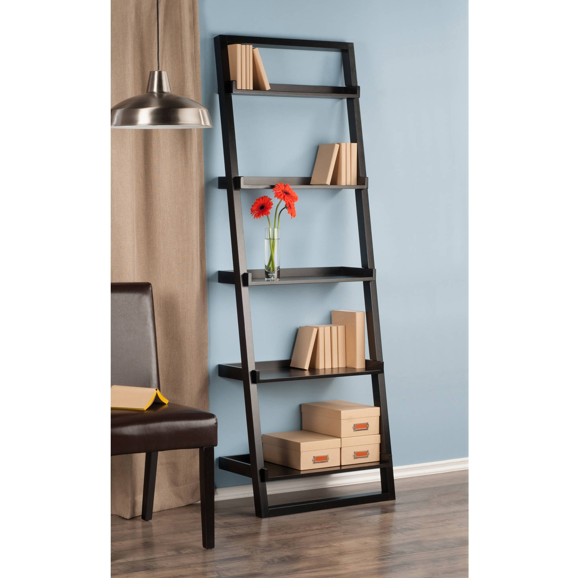 Well Liked Leaning Bookcases Intended For Leaning Wall 5 Shelf Bookcase, Black – Walmart (View 8 of 15)