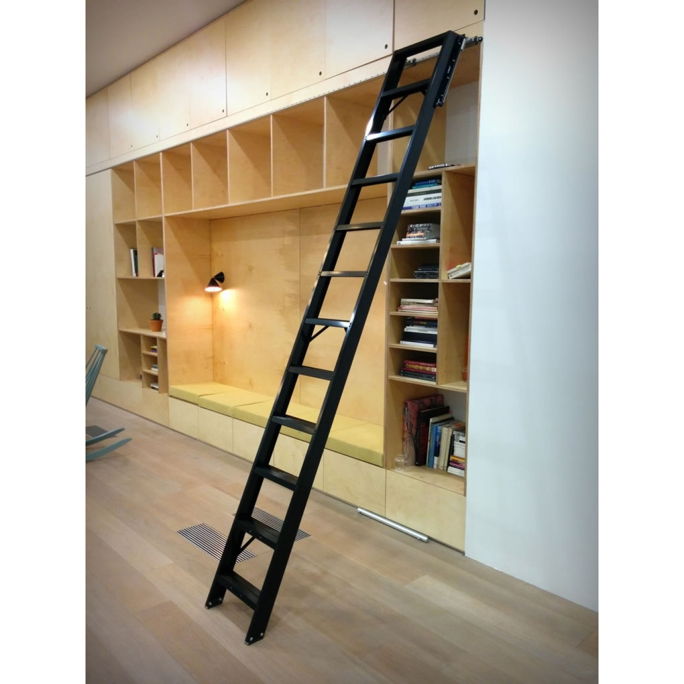 Well Liked Library Ladder With Perfect Diy Rolling Library Ladder Installation — Optimizing Home (View 7 of 15)