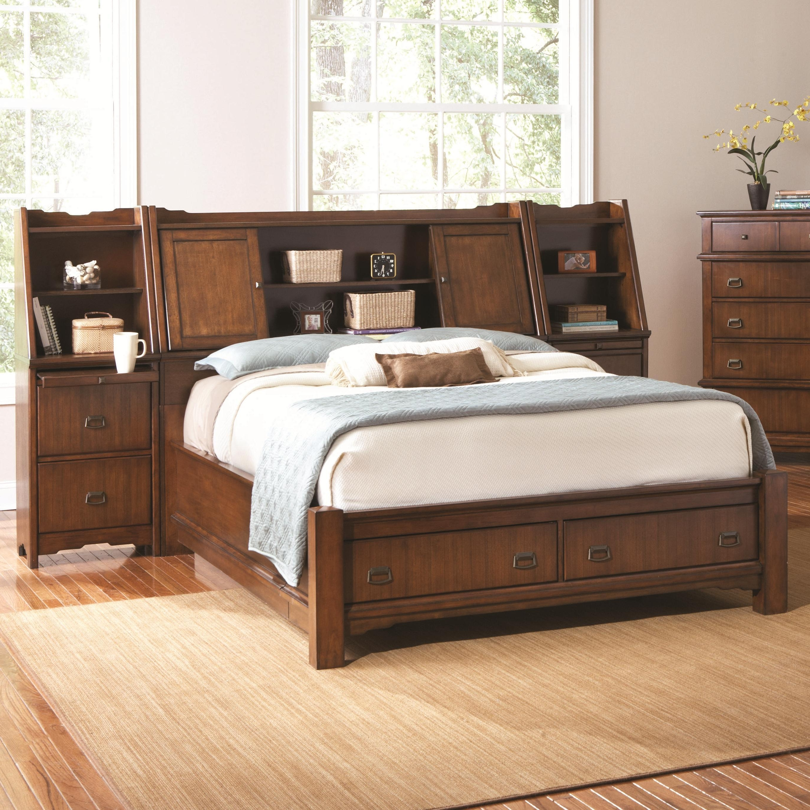 Well Liked Retro Brown Mahogany Wood Queen Bed Frame With Built In Throughout Queen Size Bookcases Headboard (View 5 of 15)