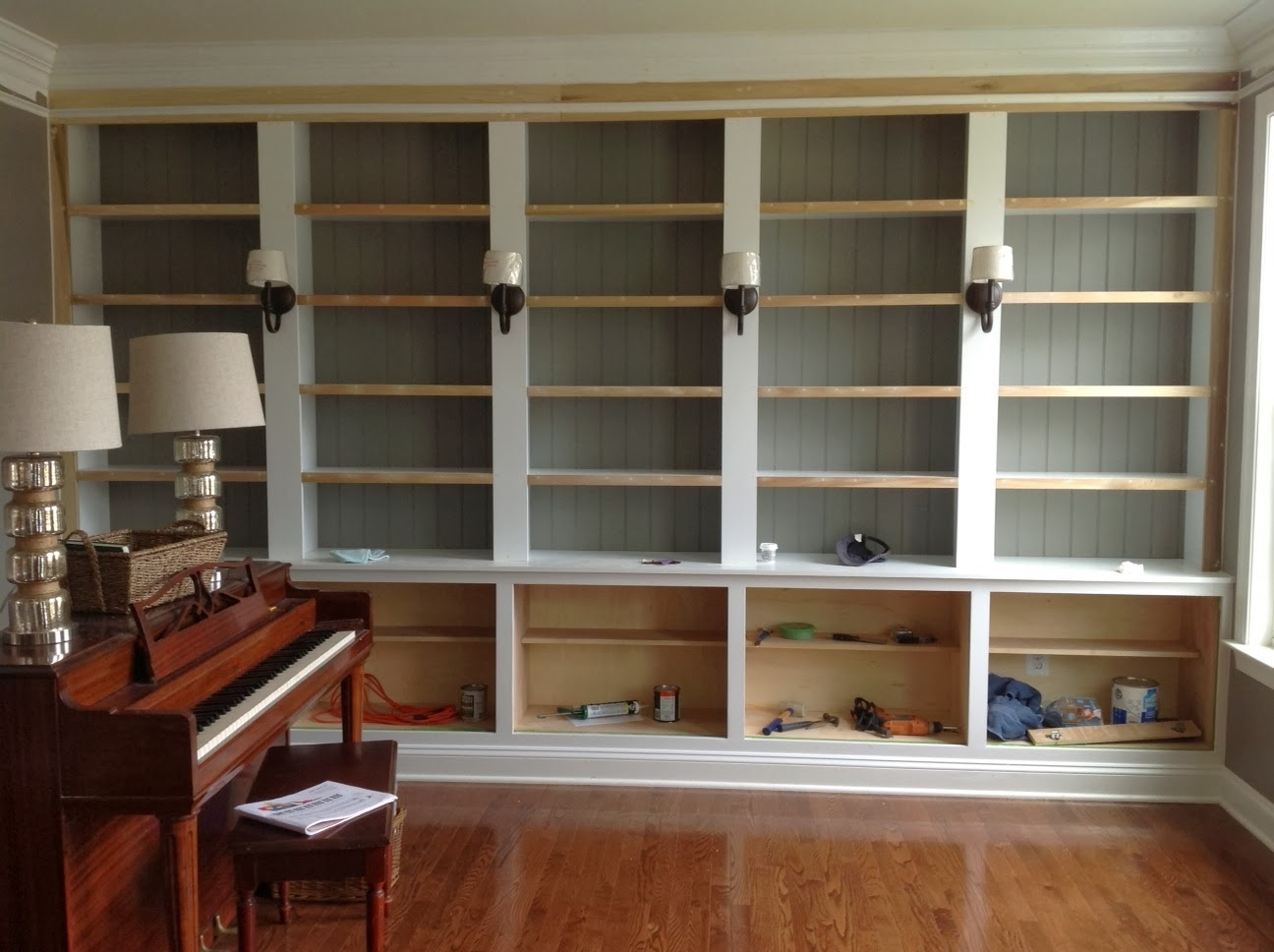 Well Liked Right Up My Alley: How We Built Our Library Bookshelves Inside Bookcases With Cabinet Base (View 15 of 15)