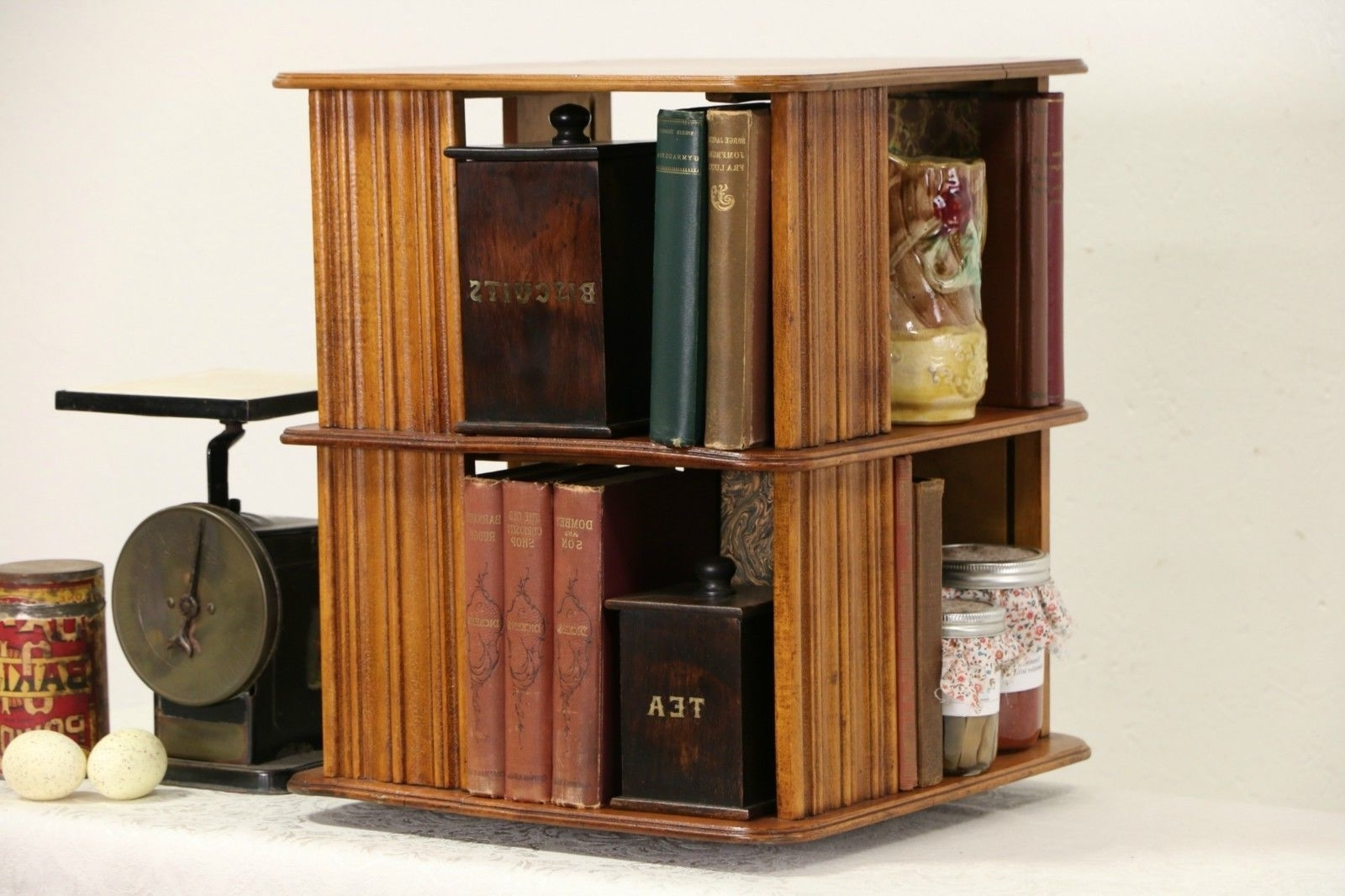Well Liked Rotating Bookcases For Spinning Bookcase, 1890's Antique Chairside Or Tabletop Revolving (View 15 of 15)
