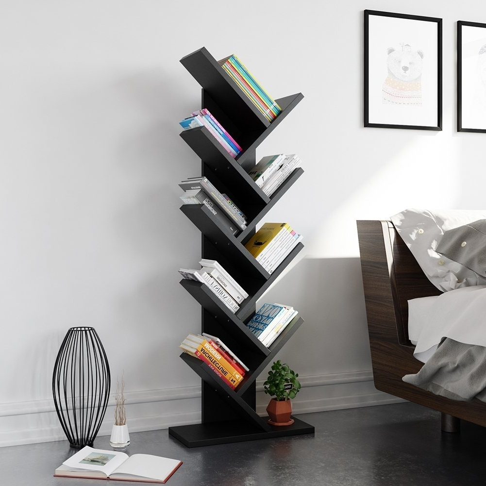 Well Liked Tribesigns 9 Shelf Tree Book Shelf, Modern Bookcases And Shelves For Tree Bookcases (View 7 of 15)