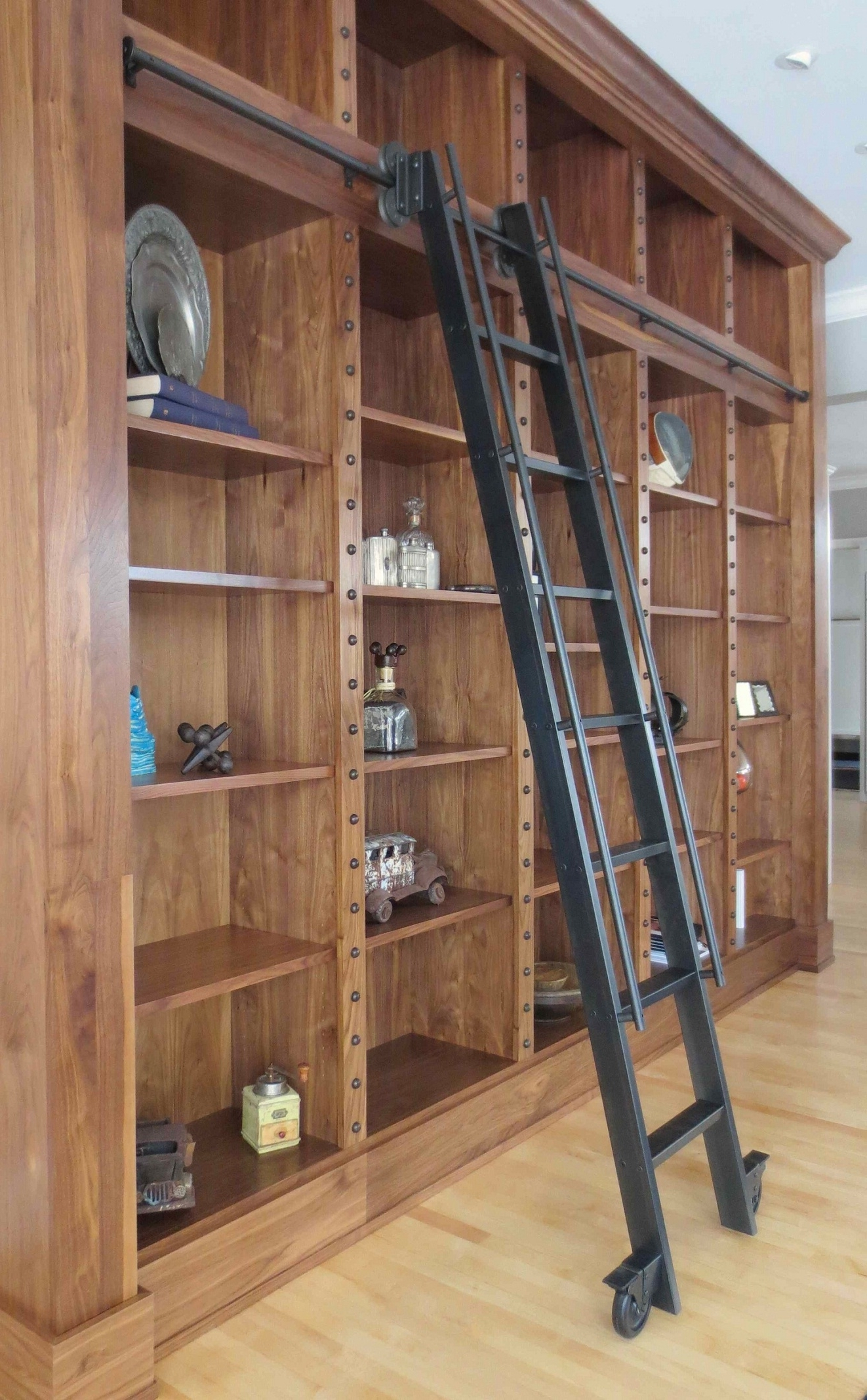 Well Liked Vintage Black Library Ladder With Wooden Book Storage Set On Within Wooden Library Ladders (View 5 of 15)