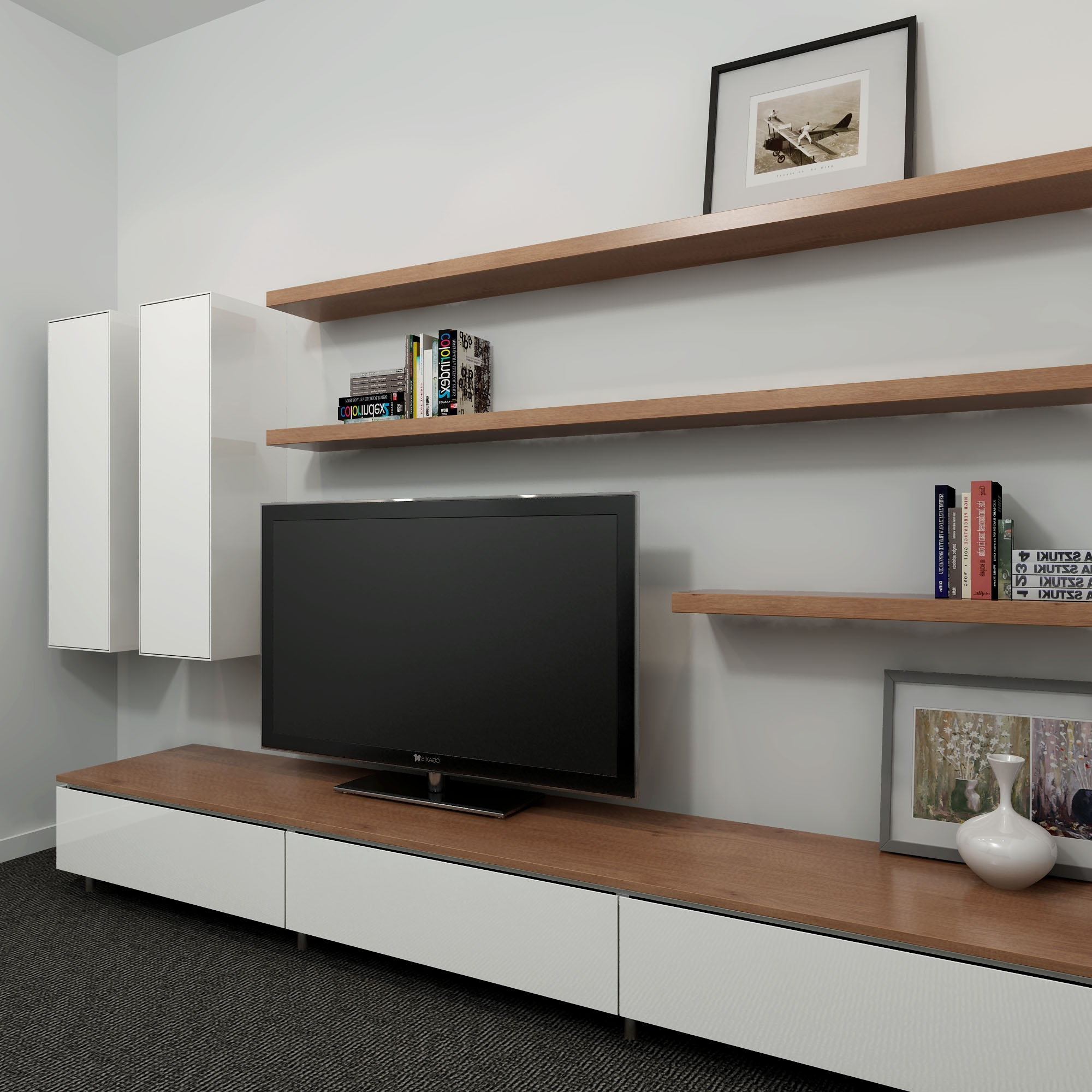 Well Liked Wall Unit Design Tv Cabinet Shelves Units Ideas Long Black With Intended For Bookshelves Tv Unit (View 15 of 15)
