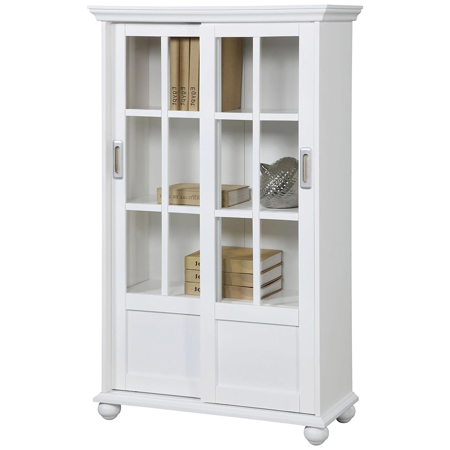 White Bookcases With Doors With Regard To Recent Amazon: Ameriwood Home Aaron Lane Bookcase With Sliding Glass (View 14 of 15)