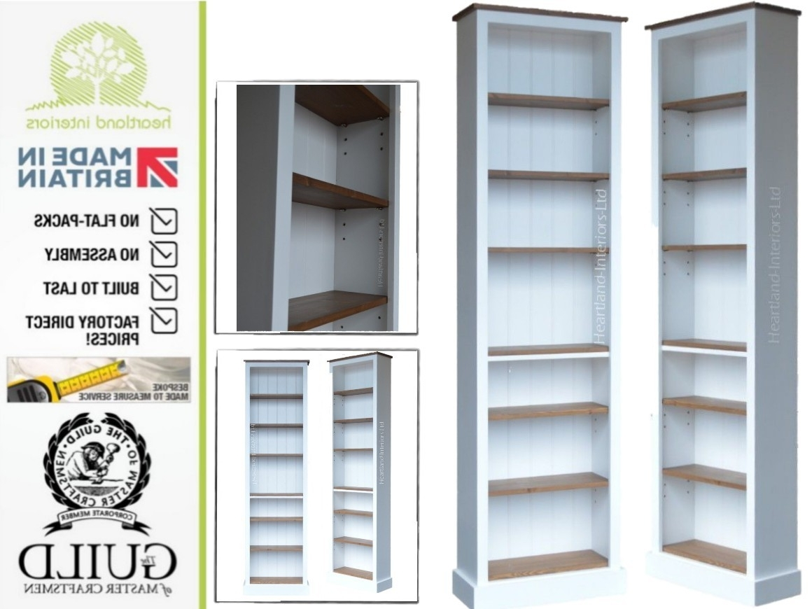 White, Cream Or Grey Painted 7Ft X 2Ft Shallow Bookcase Pertaining To Famous Shallow Bookcases (View 15 of 15)
