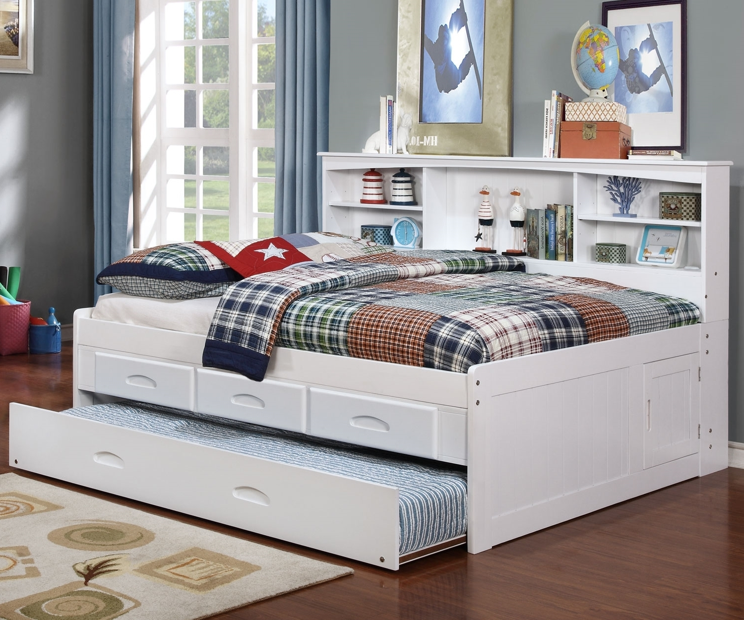 White Full Bookcase Daybed – All American Furniture – Buy 4 Less With Latest Zayley Full Bed Bookcases (View 5 of 15)