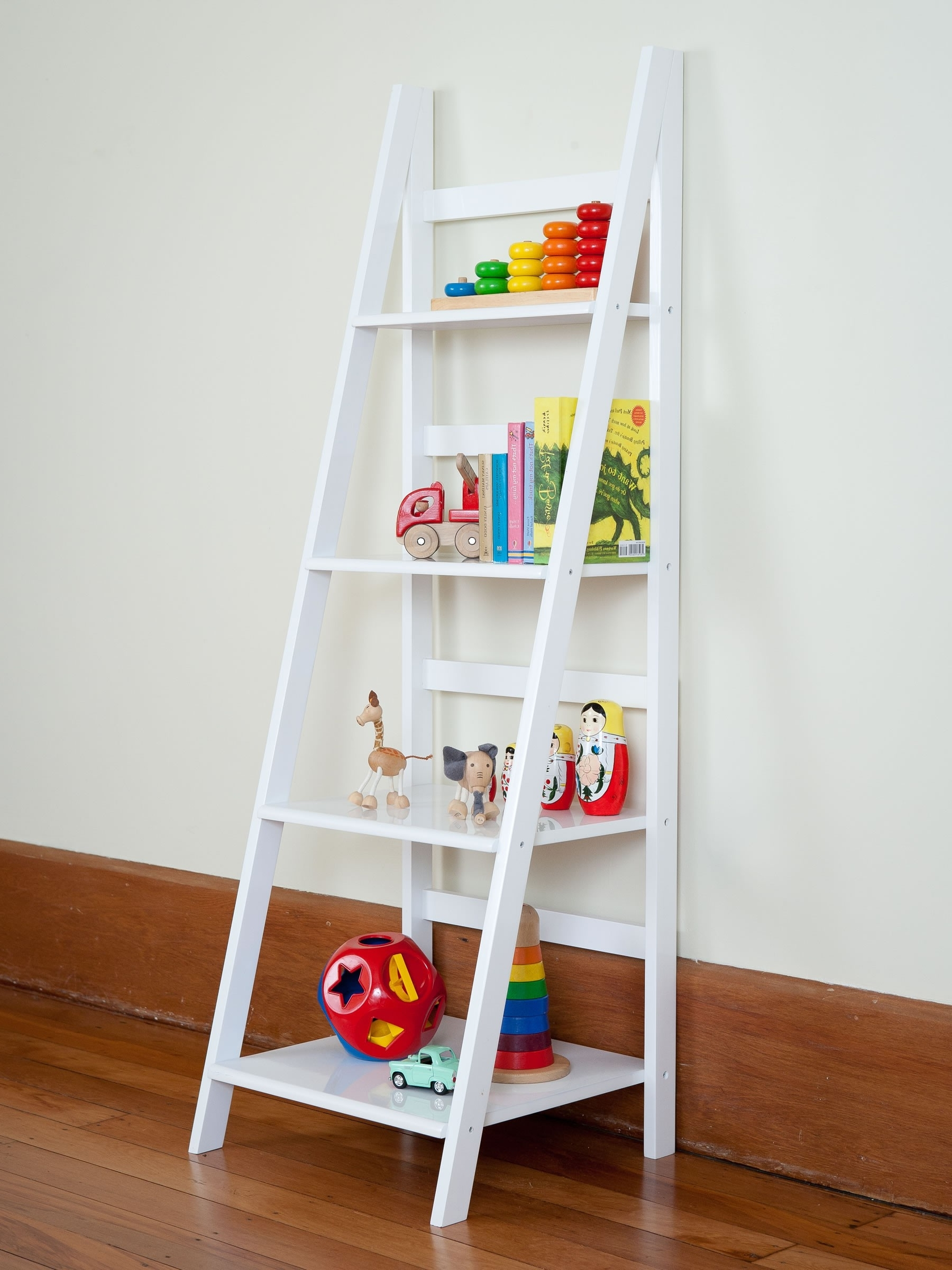 White Ladder Bookcases Pertaining To Well Liked Enjoyable White Wooden Ladder Shelf As Toys Storage Added White (View 6 of 15)