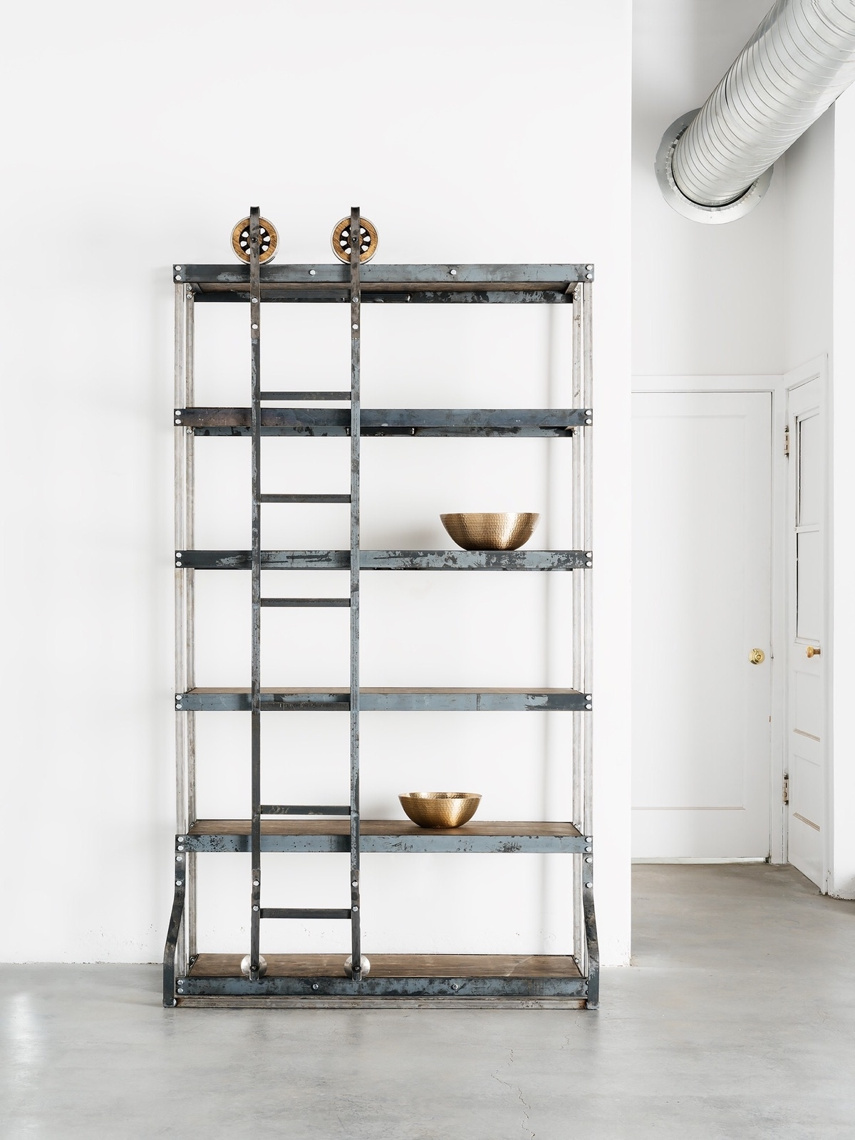 White Ladder Shelf Intended For Well Known Vintage Industrial Shelf With Rolling Ladder – White Shanty (View 11 of 15)