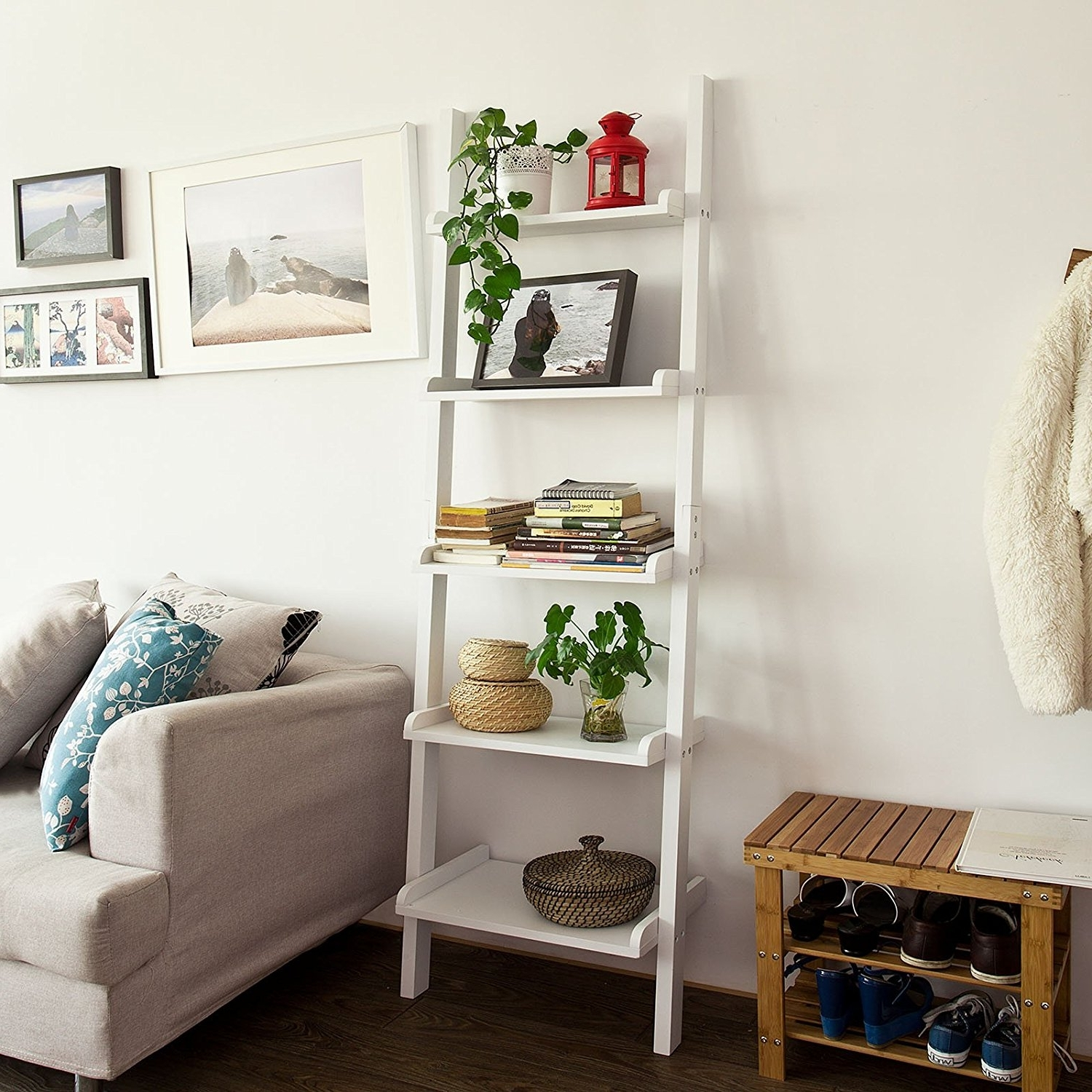 White Ladder Shelf Pertaining To Preferred Amazon: Haotian Leaning Ladder Book Shelf Made Of Wood With (View 12 of 15)