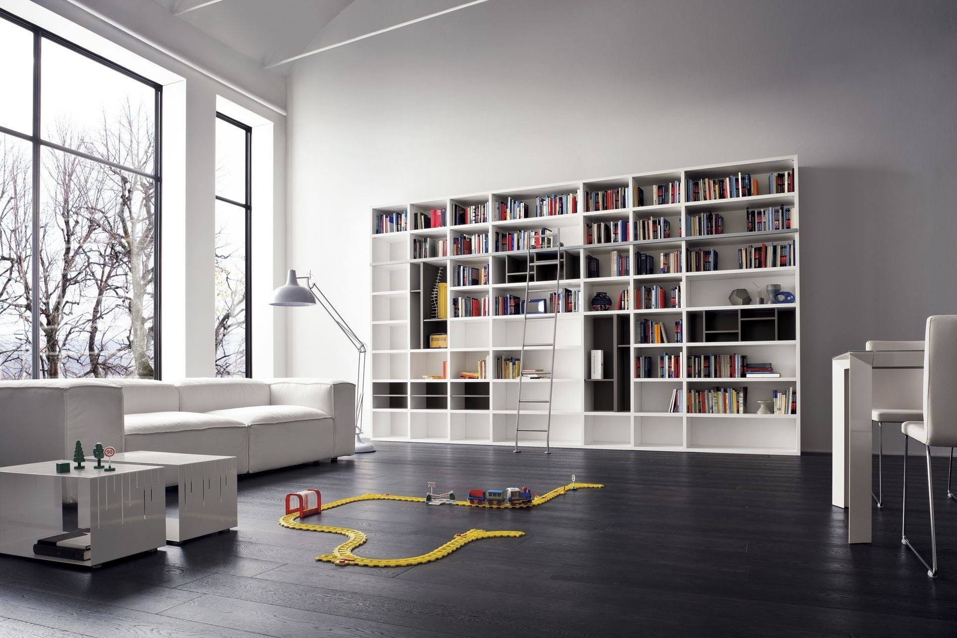 White Library Bookcases Throughout Best And Newest Furniture Design And Room Decoration Enchanting Modern Library (View 12 of 15)