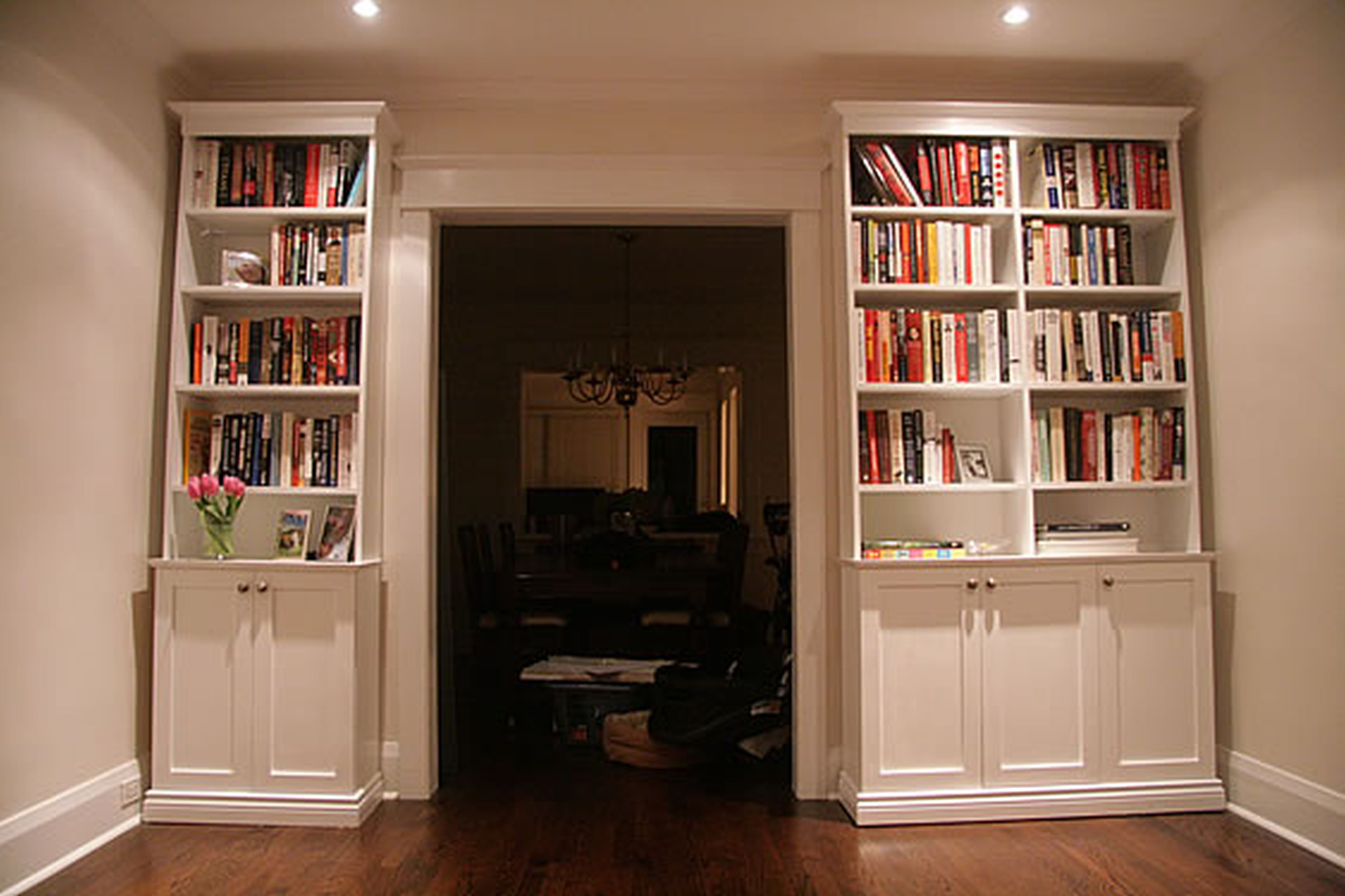 White Library Bookcases With Latest High White Wooden Books Shelves Having Storage Under It With Door (View 13 of 15)