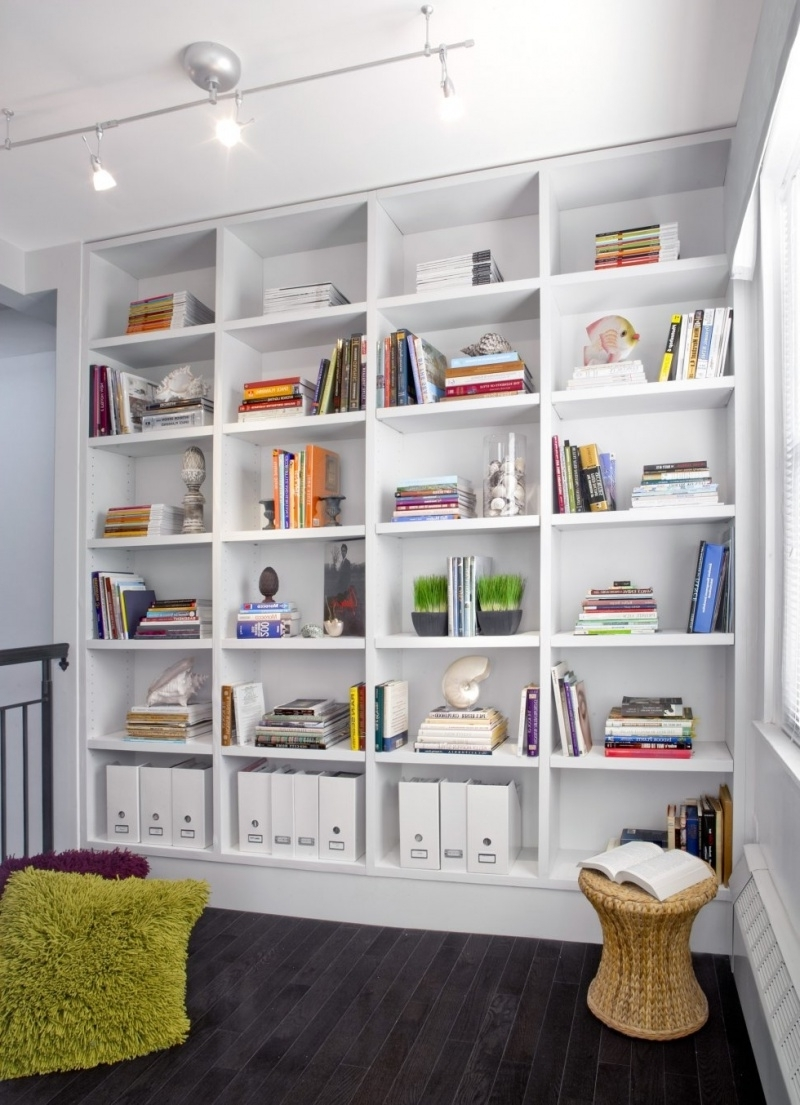 White Library Bookcases Within Most Recent Fabulous Built In Storage Created At Small Home Library On (View 6 of 15)