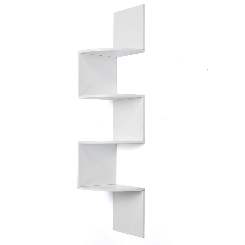 White Wall Shelves With Regard To Latest Az Home And Gifts Nexxt Provo 4 Tier 12 In. X 57 In (View 13 of 15)