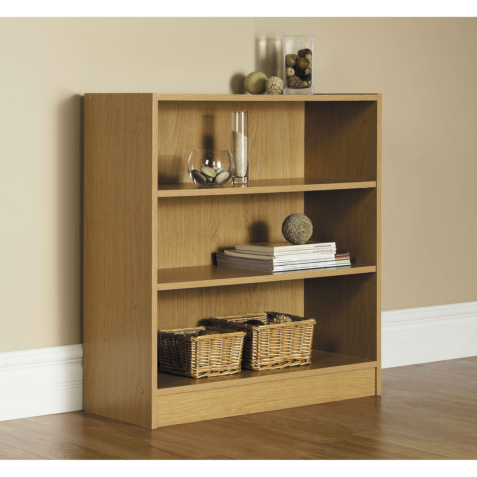 White Walmart Bookcases Inside Well Liked Orion Wide 3 Shelf Standard Bookcase, Multiple Finishes – Walmart (View 11 of 15)