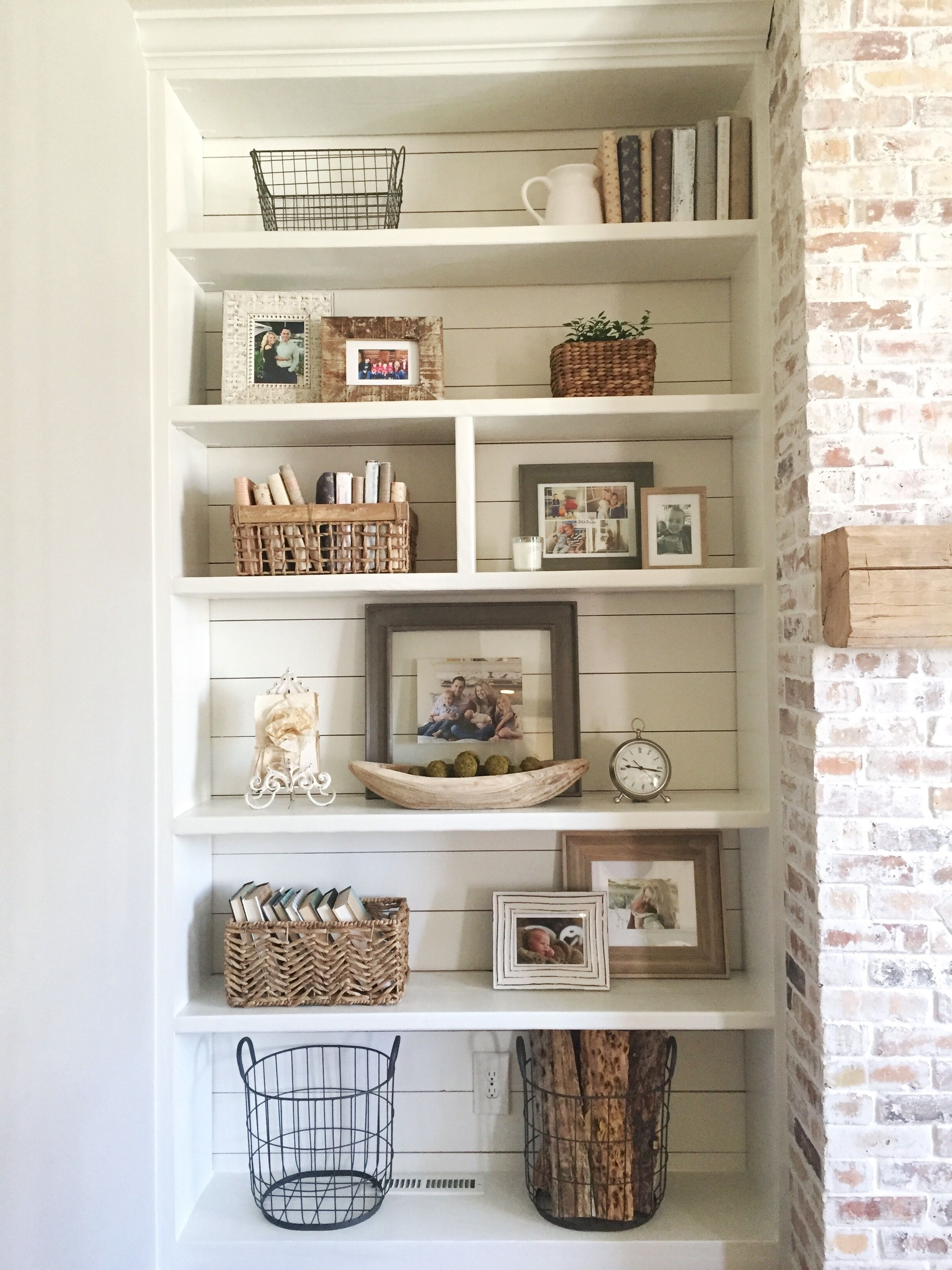 Whitewash Bookcases Regarding Current Built In Bookshelves Styling And Decor, Shiplap, Whitewash Brick (View 13 of 15)