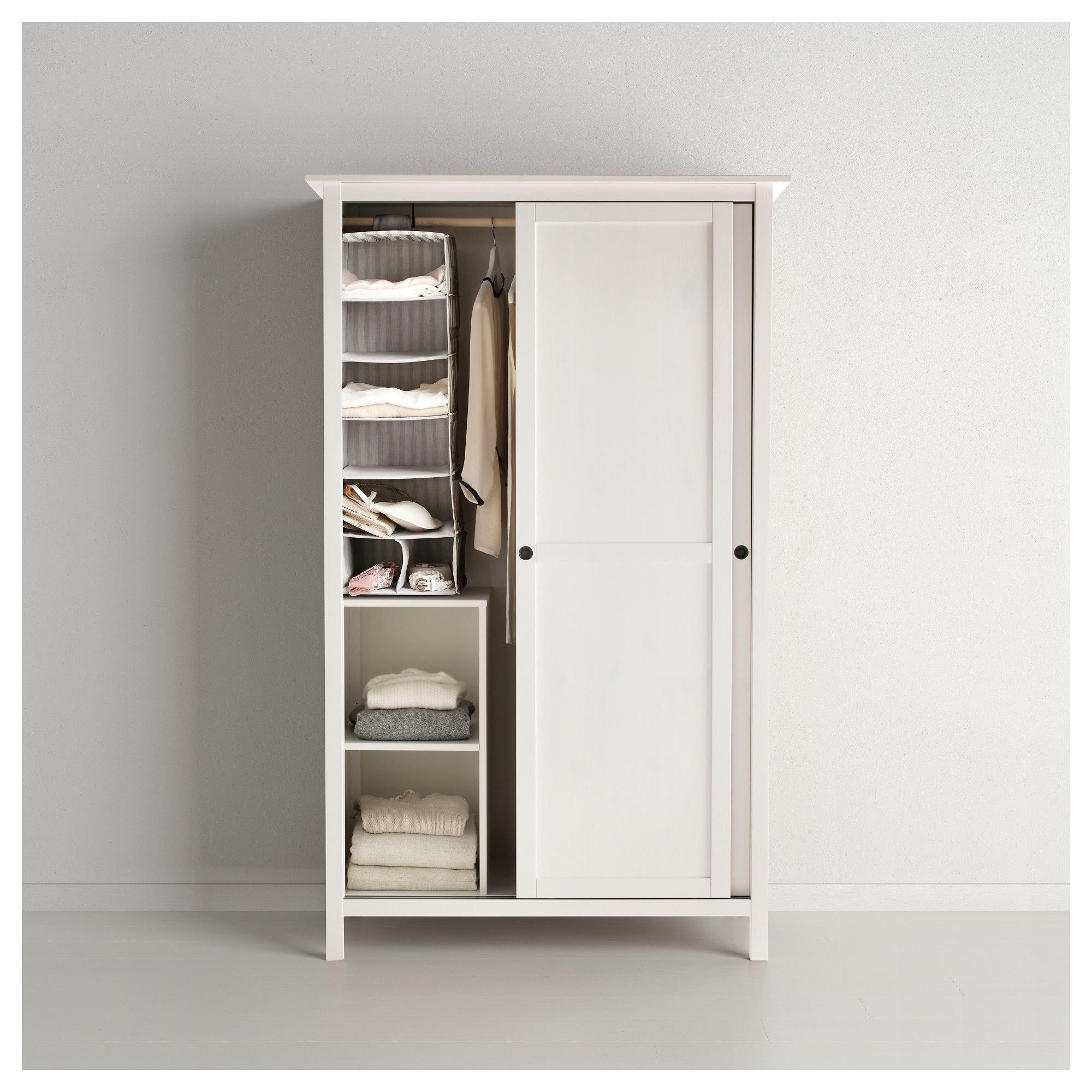 Widely Used 2 Door Wardrobes With Drawers And Shelves Pertaining To Hemnes Wardrobe With 2 Sliding Doors White Stain 120X197 Cm (View 15 of 15)