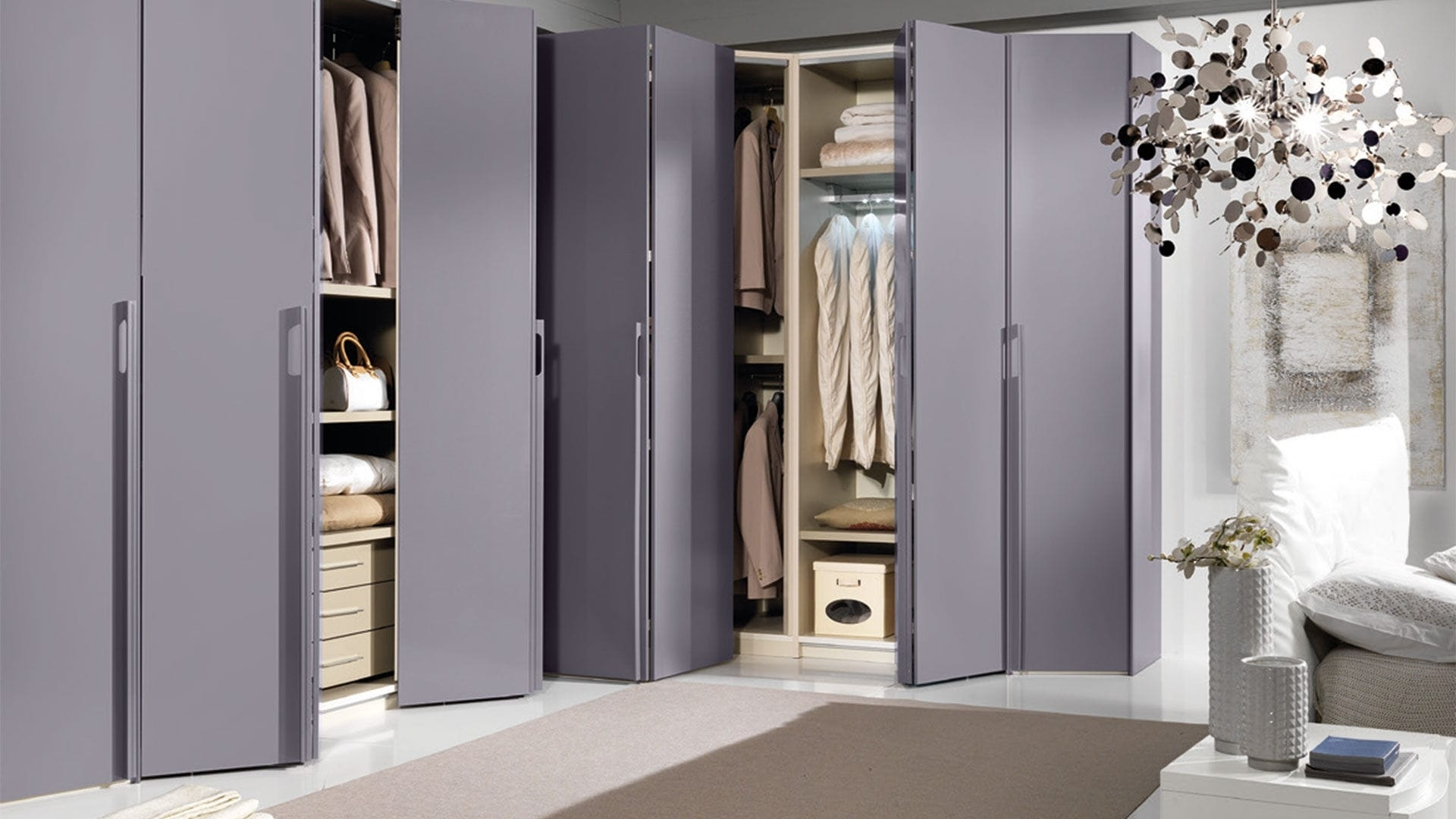 Widely Used Corner Wardrobe / Contemporary / Lacquered Wood / Folding Door Inside Folding Door Wardrobes (View 3 of 15)