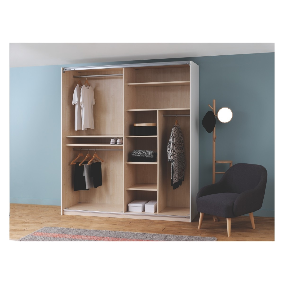 Widely Used Double Rail Wardrobes Intended For Kripton Single Hanging Rail W97cm For Kripton Wardrobe (View 10 of 15)