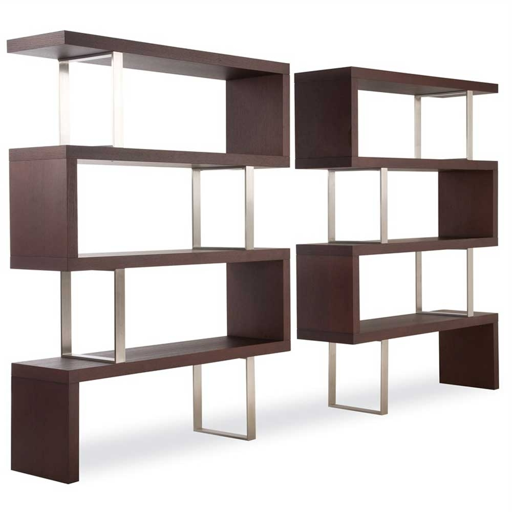 Widely Used Free Standing Bookshelves Pertaining To Furniture : Modern Style Book Shelf Furniture Design Feature Brown (View 11 of 15)