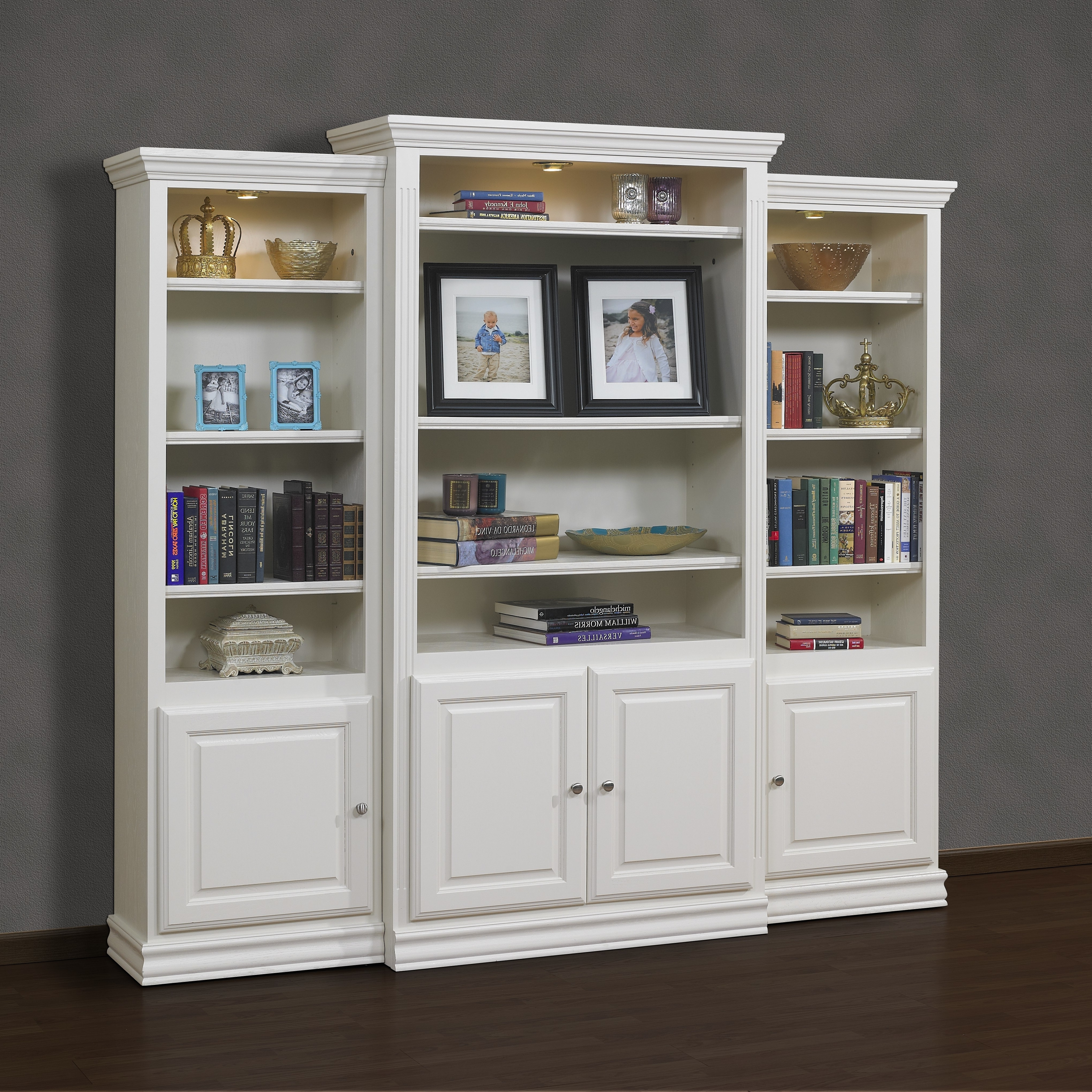 Widely Used Furniture White Wooden Tall Book Cabinet Using Glass Door And Intended For Cabinet Bookcases (View 4 of 15)