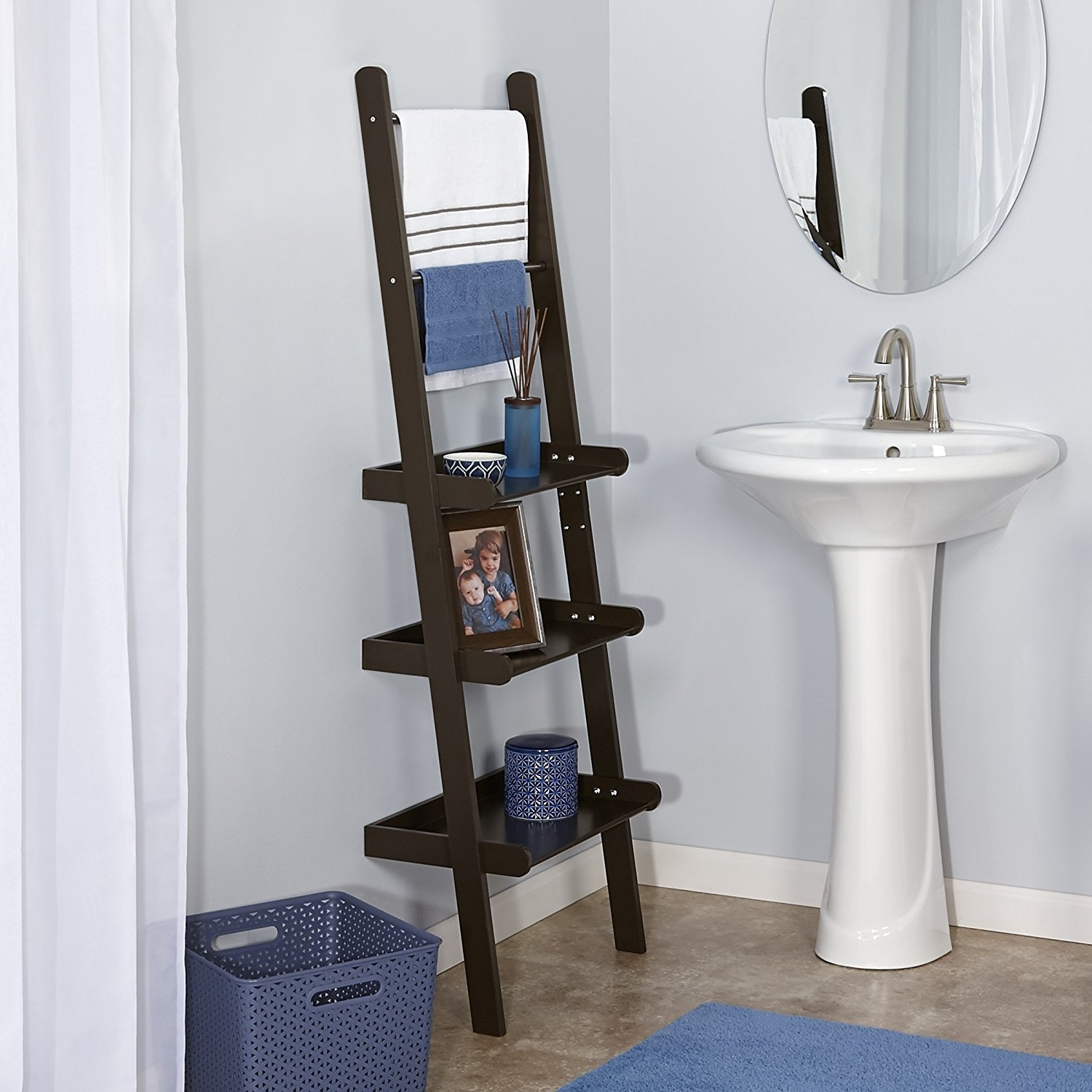 Widely Used Ladder Shelves Pertaining To Amazon: Riverridge Home Ladder Shelf, Espresso: Home & Kitchen (View 15 of 15)