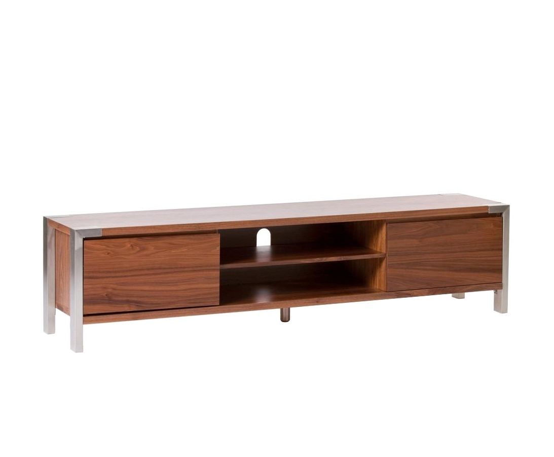 Widely Used Low Media Unit For Long Low Profile Media Console Table With Stainless Steel Legs And (View 7 of 15)