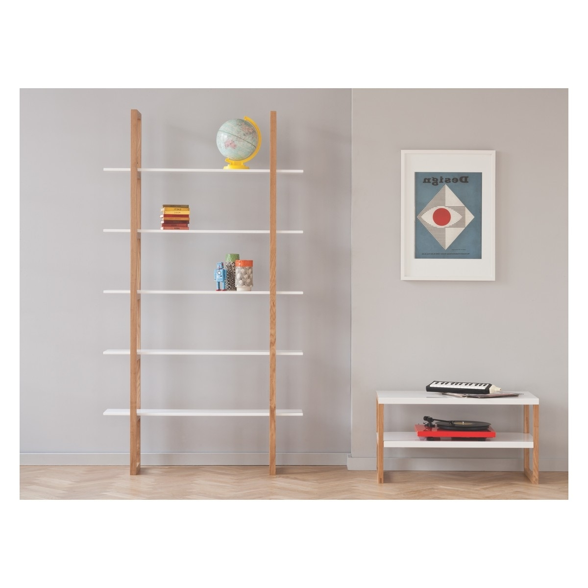 Widely Used White 5 Shelf Bookcases Throughout Loki Solid Oak And White 5 Shelf Bookcase (View 6 of 15)