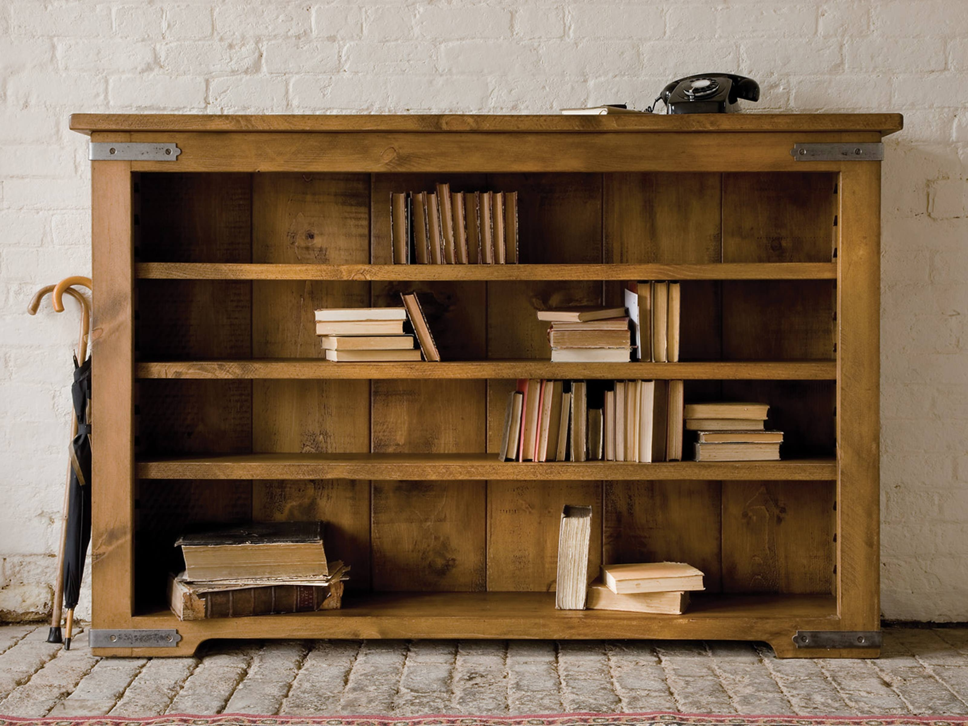 Widely Used Wood Bookcases For Terrific Unfinished Oak Low Bookcase Over Stones Floors And White (View 4 of 15)